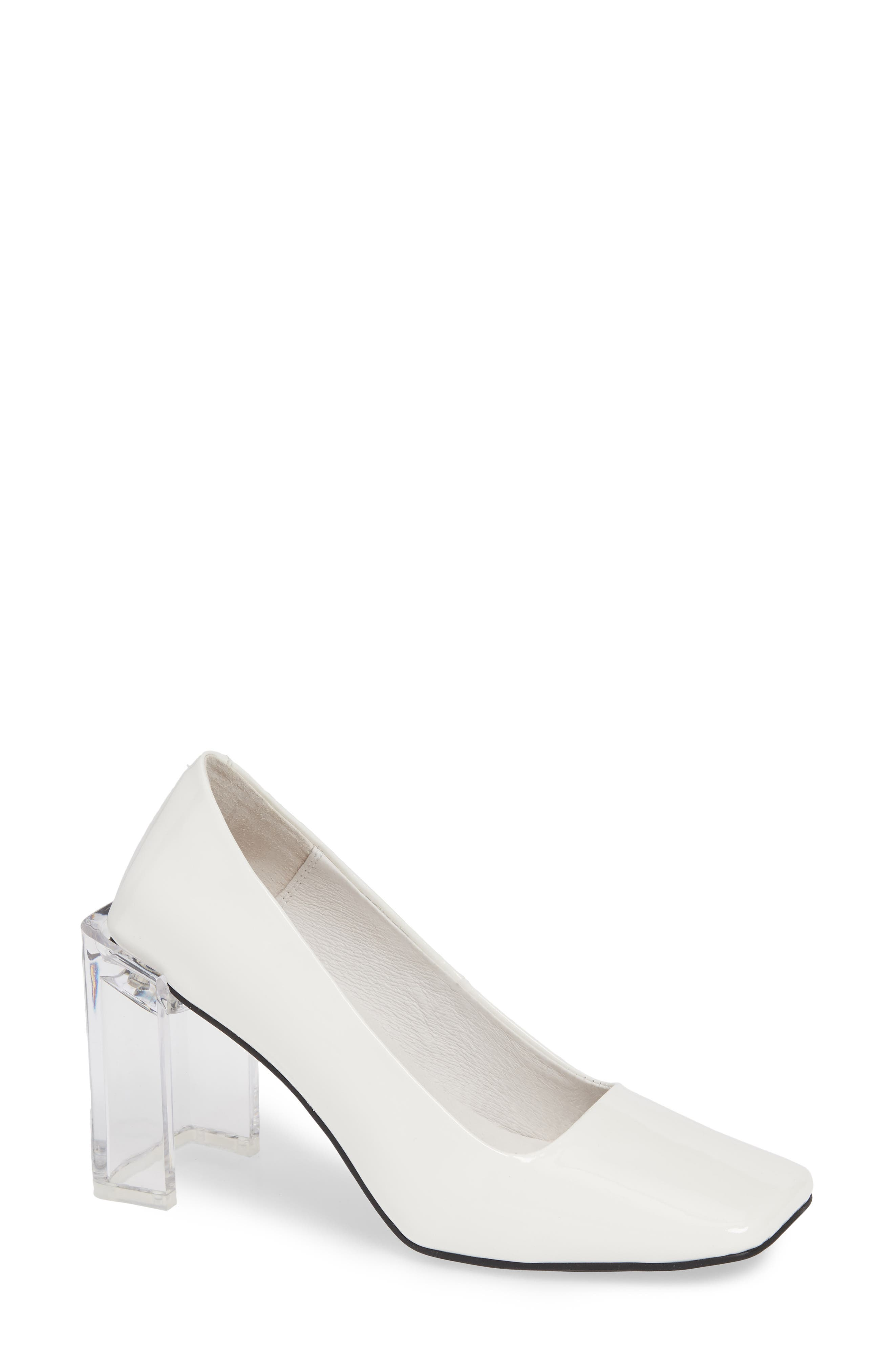 JEFFREY CAMPBELL, Graff Clear Heel Pump, Main thumbnail 1, color, WHITE PATENT LEATHER