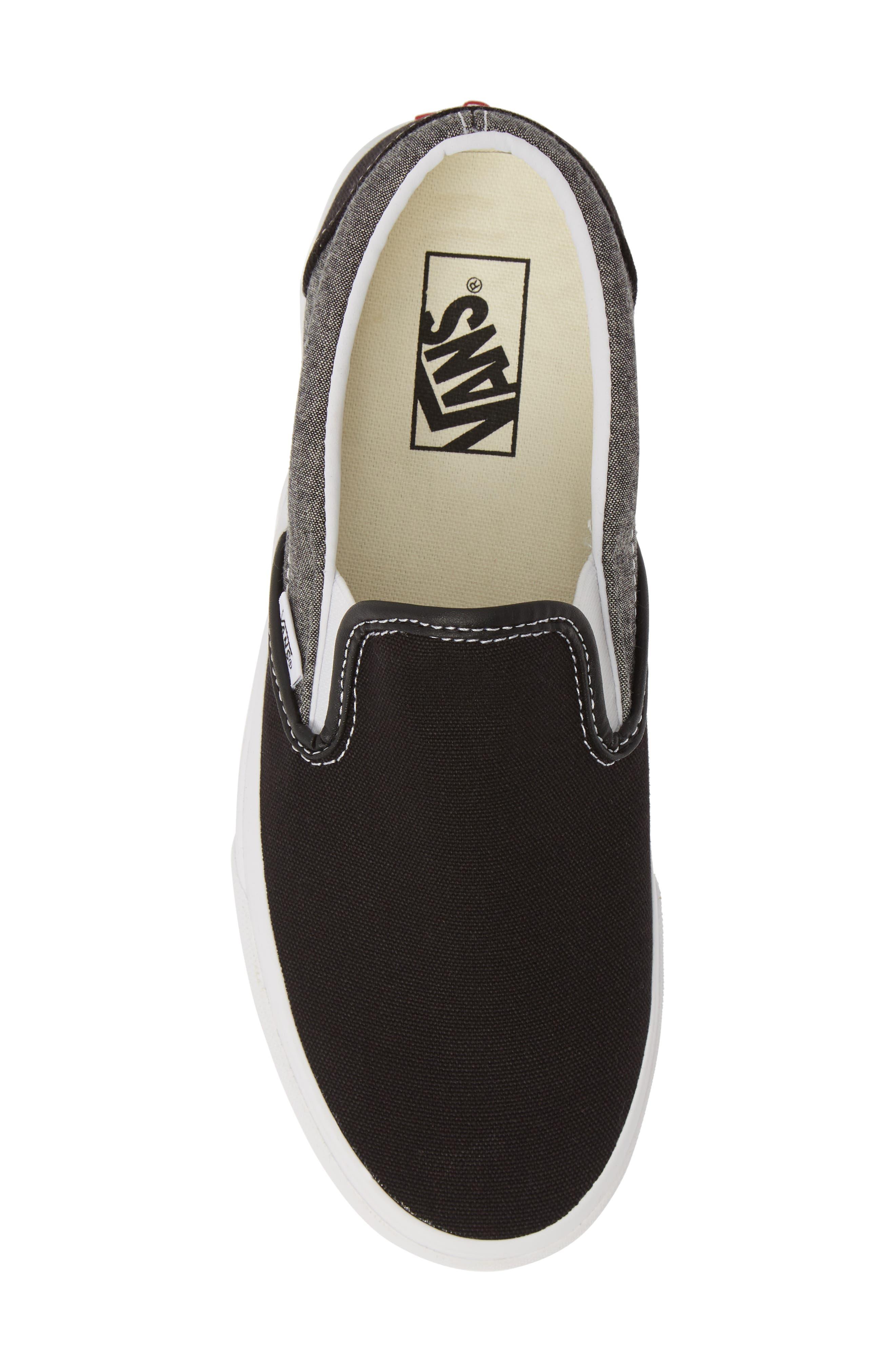 VANS, 'Classic' Slip-On Sneaker, Alternate thumbnail 5, color, CANVAS BLACK/ WHITE CHAMBRAY