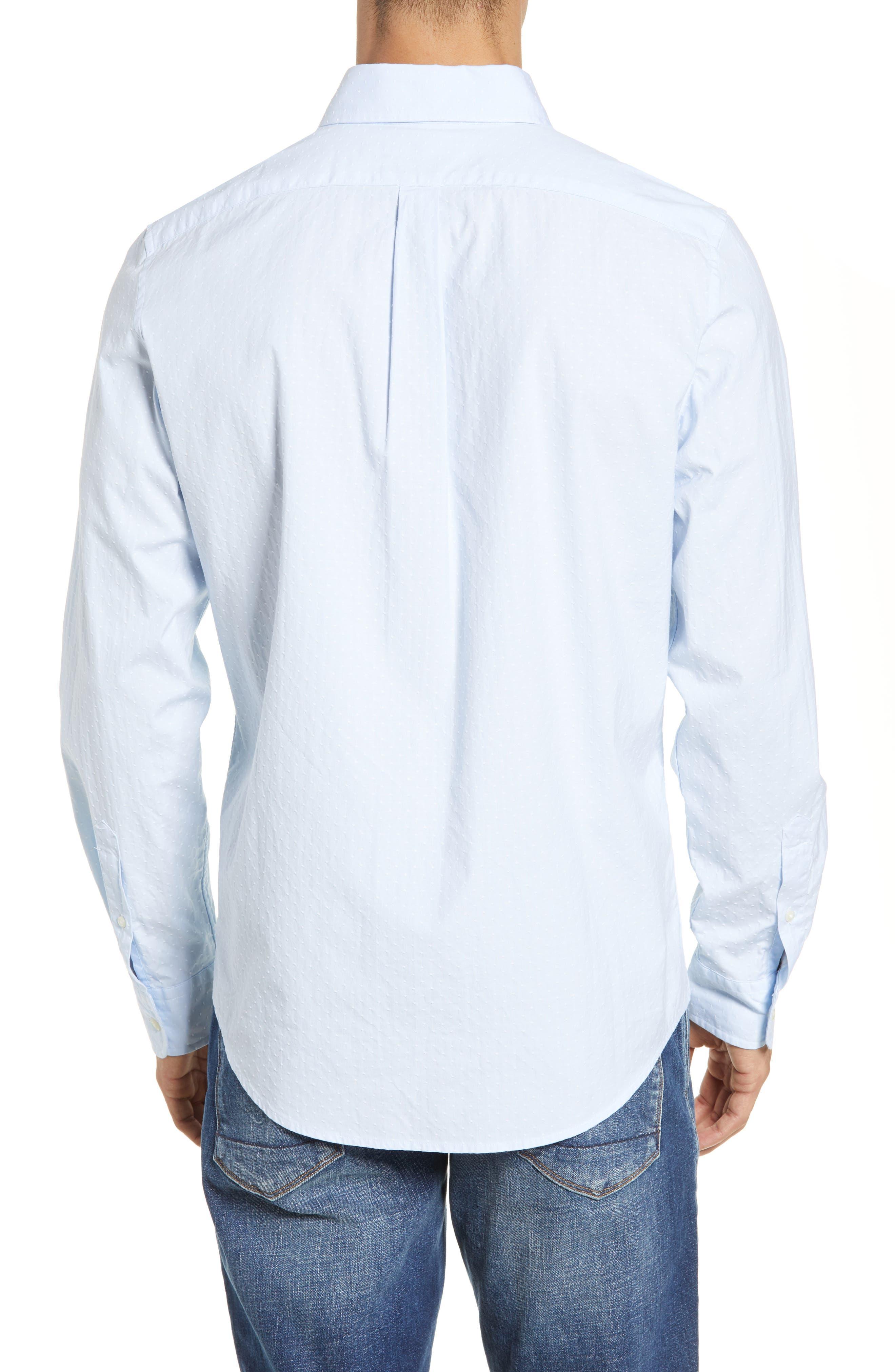 VINEYARD VINES, Wavine Slim Fit Dobby Sport Shirt, Alternate thumbnail 3, color, JAKE BLUE