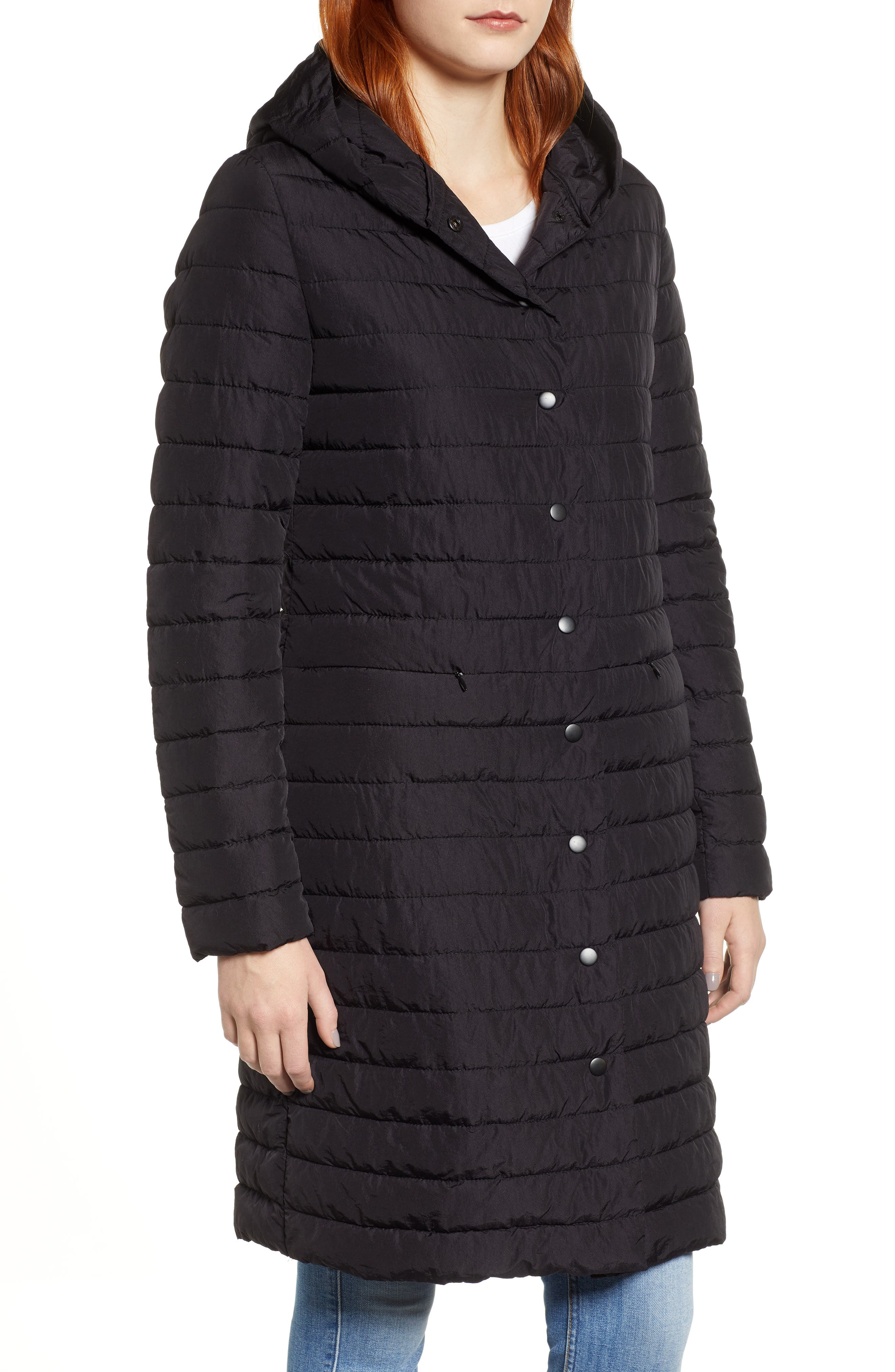 HALOGEN<SUP>®</SUP>, Hooded Puffer Jacket, Alternate thumbnail 5, color, 001