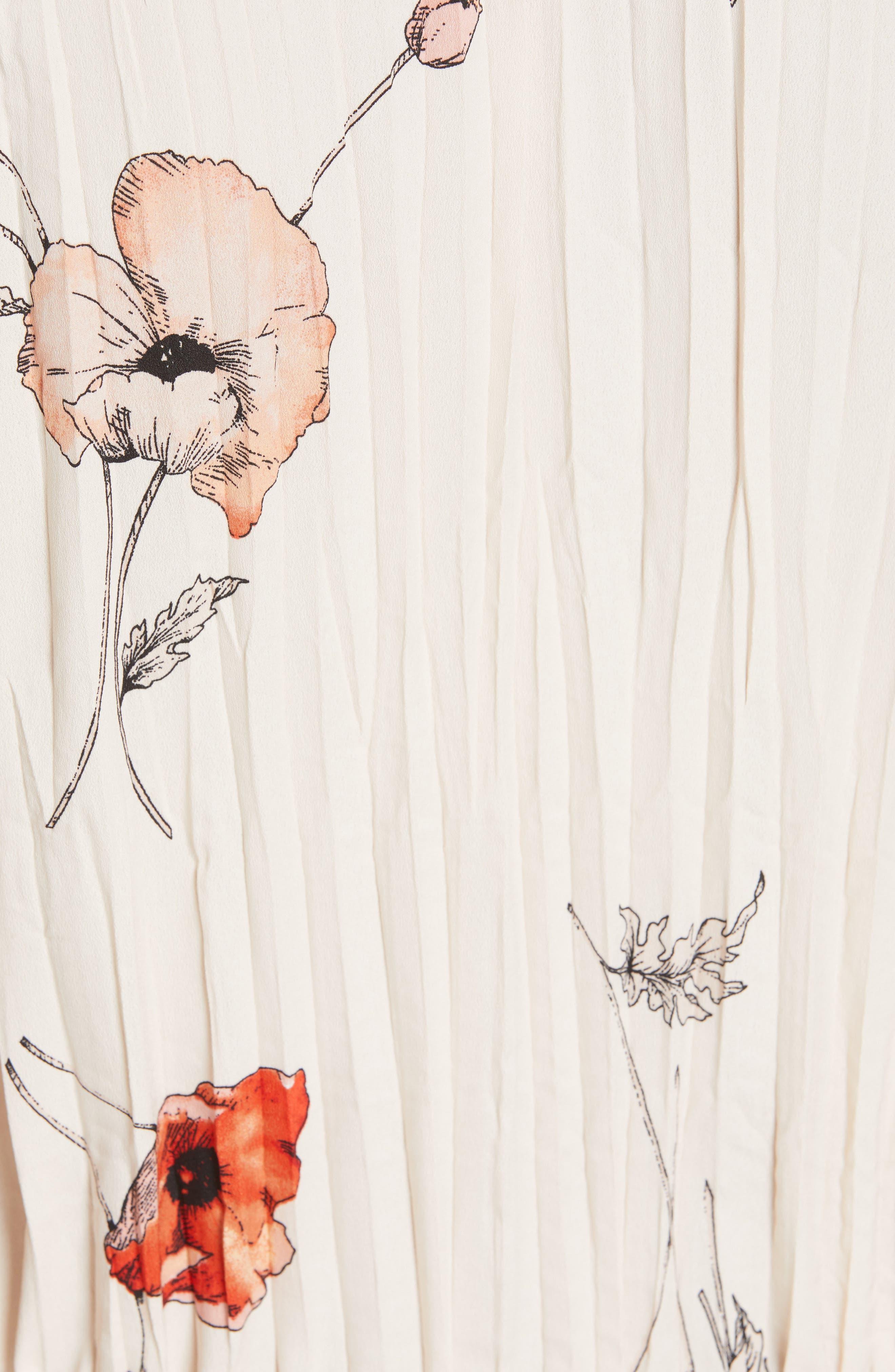 VINCE, Tossed Poppy Pleated Midi Dress, Alternate thumbnail 6, color, PALE BLUSH