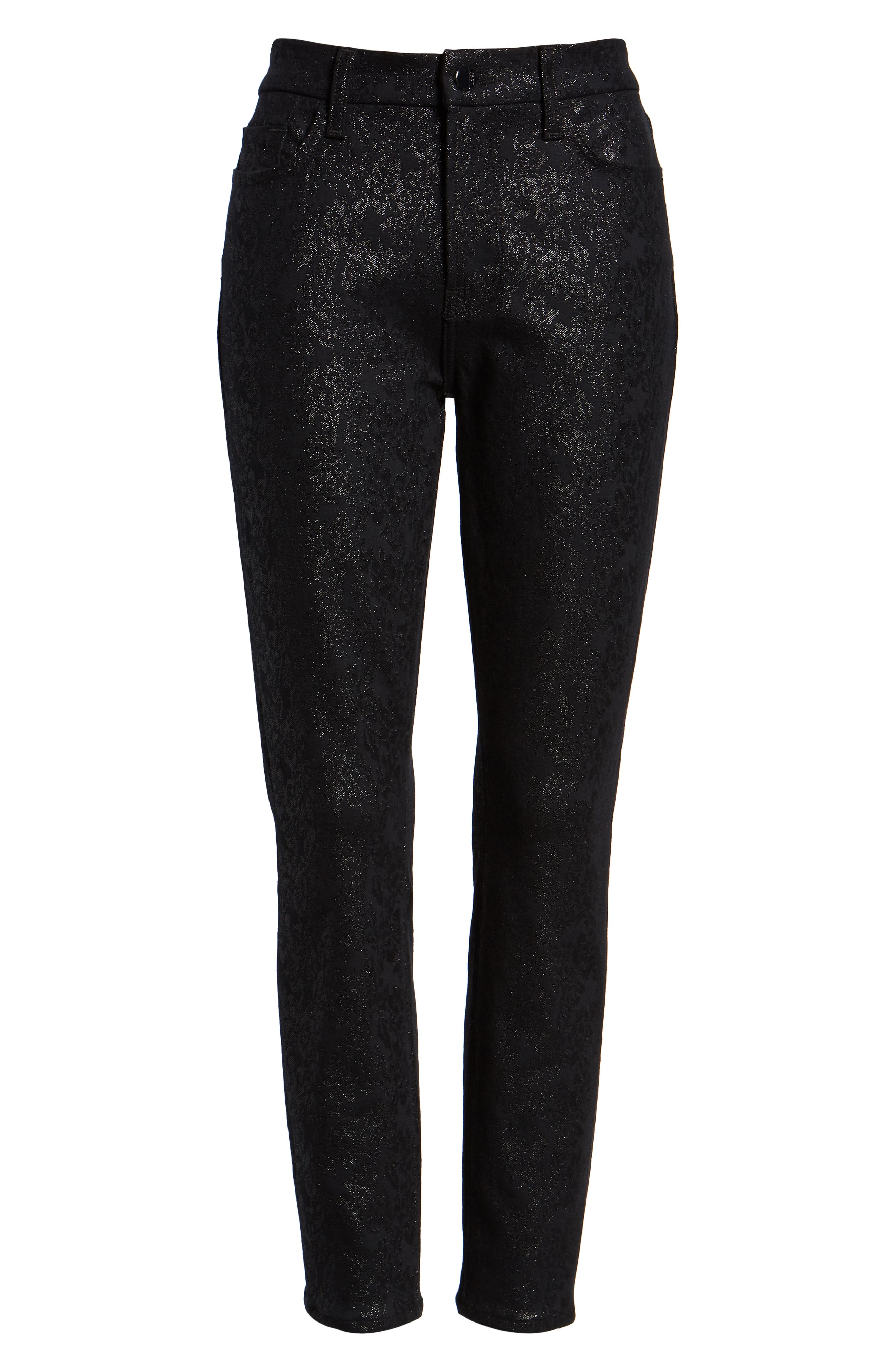 JEN7 BY 7 FOR ALL MANKIND, Floral Metallic Ankle Skinny Jeans, Alternate thumbnail 7, color, BLACK