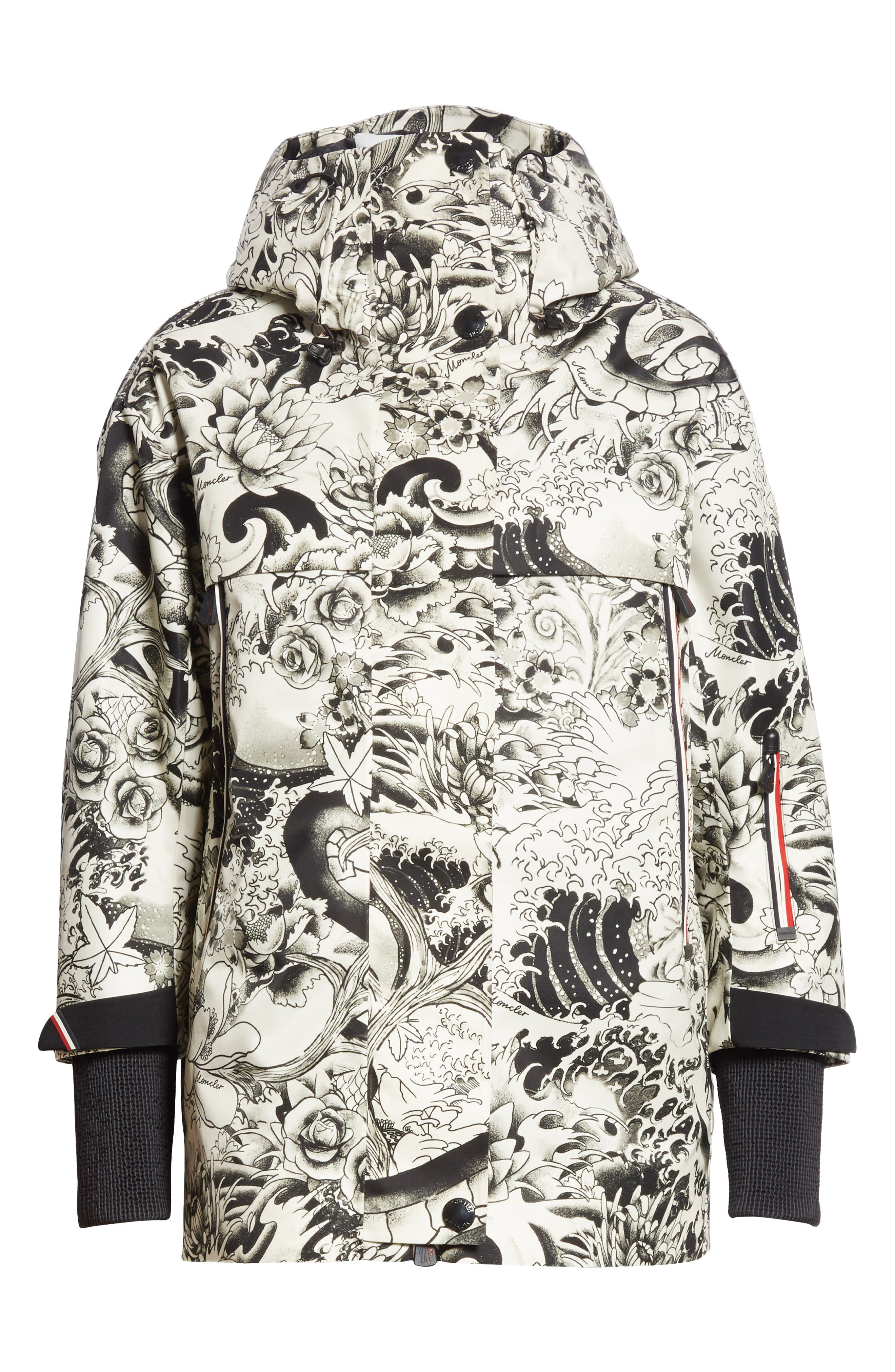 MONCLER, Neves Tattoo Print Hooded Down Coat, Alternate thumbnail 5, color, BLACK