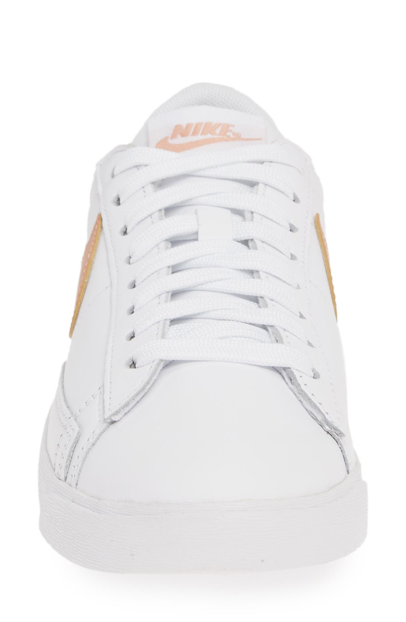 NIKE, Blazer Low SE Sneaker, Alternate thumbnail 4, color, WHITE/ ROSE GOLD/ WHITE