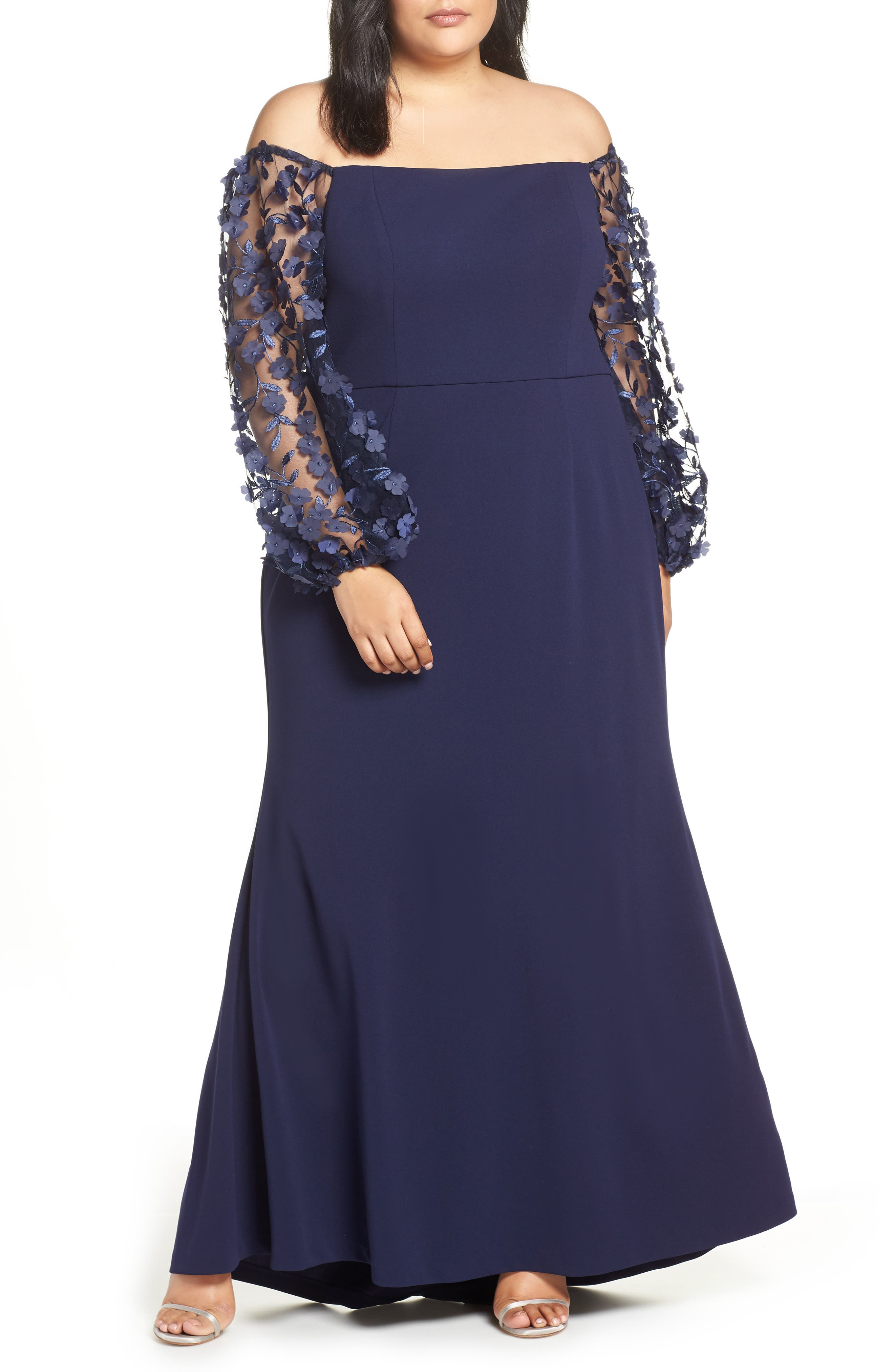 ELIZA J, Off the Shoulder 3D Floral Sleeve Scuba Crepe Evening Dress, Main thumbnail 1, color, NAVY