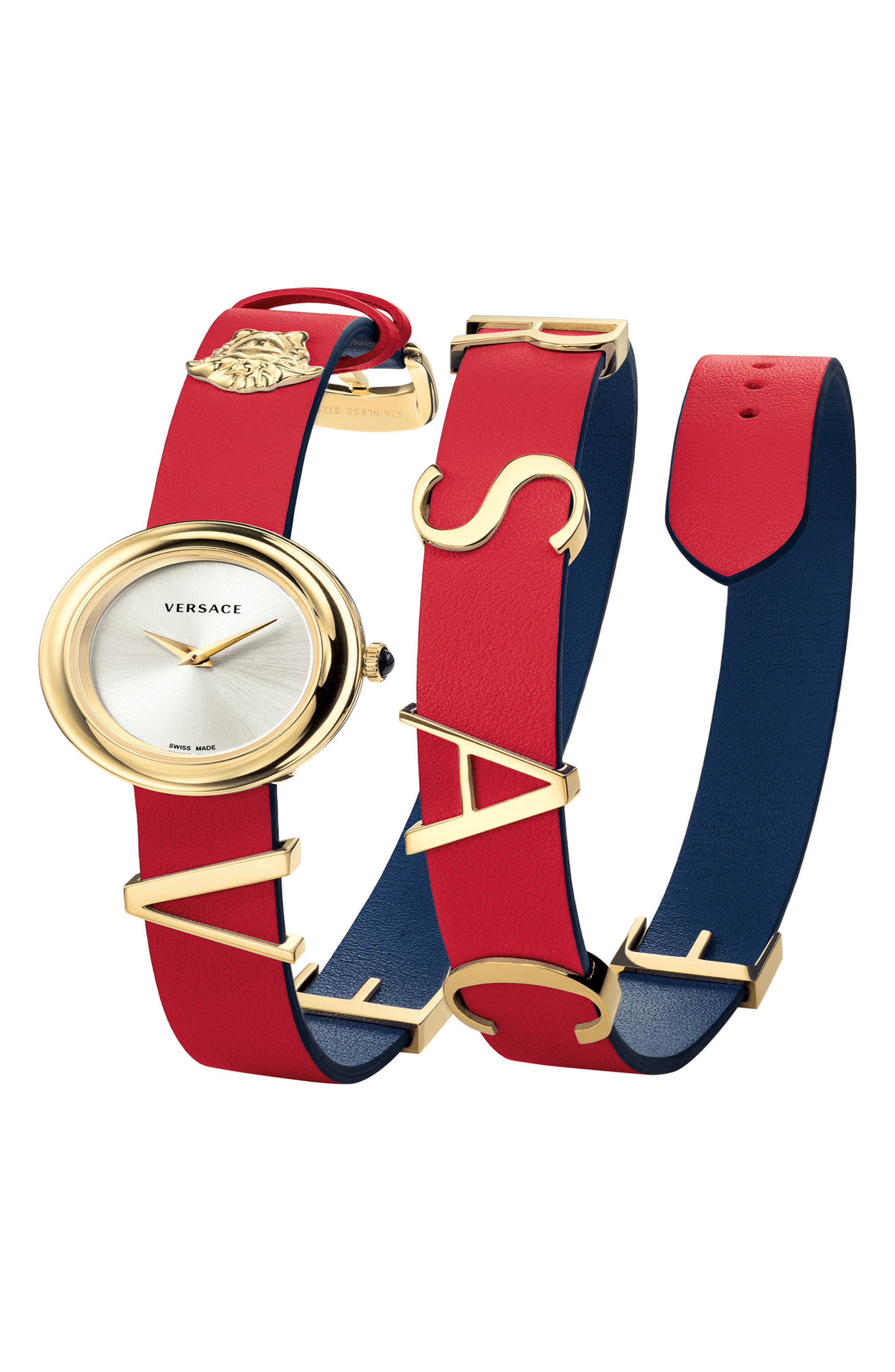 VERSACE, V-Flare Double Wrap Leather Strap Watch, 28mm, Main thumbnail 1, color, RED/ SILVER/ GOLD