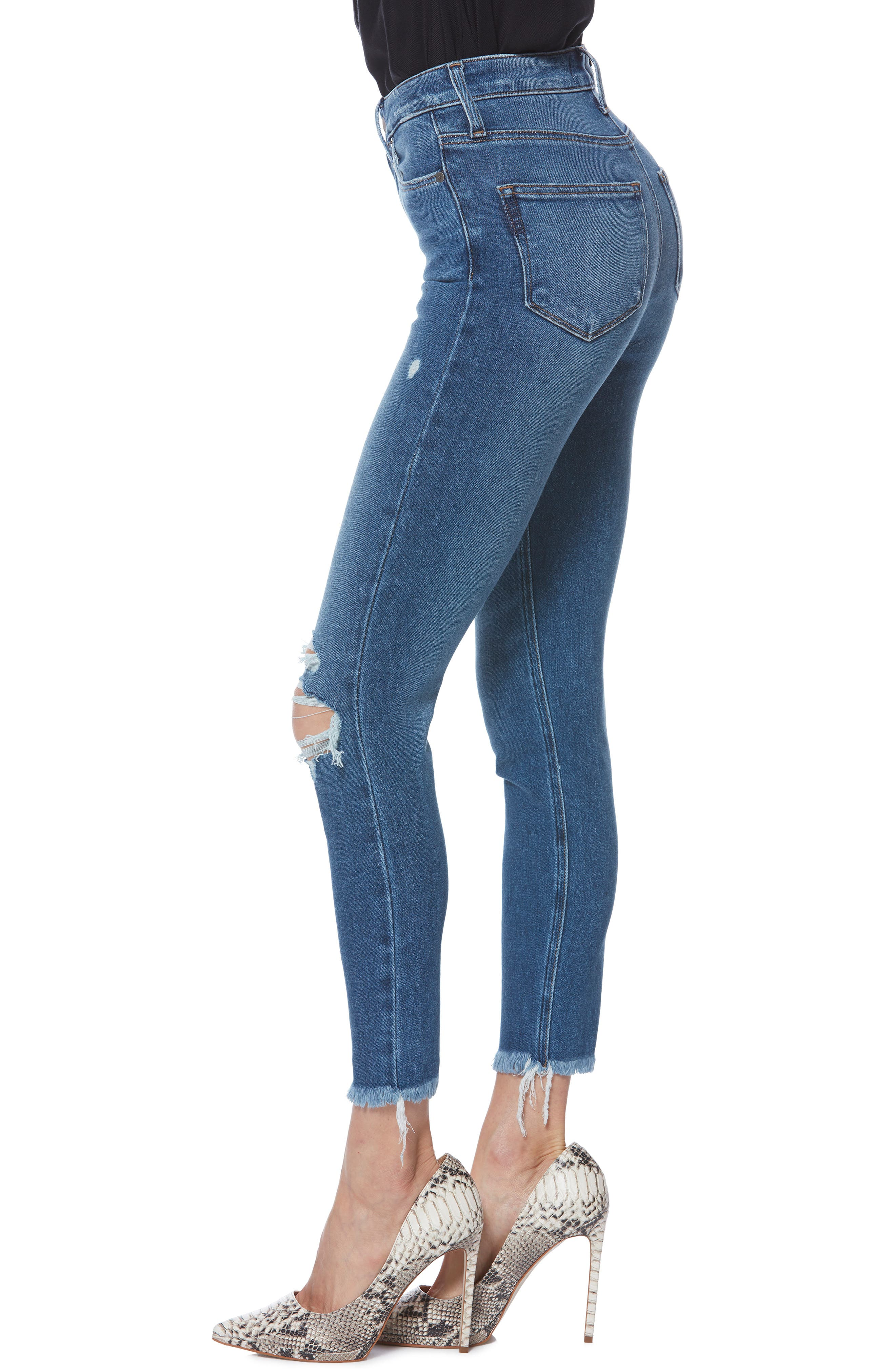 PAIGE, Margot High Waist Crop Skinny Jeans, Alternate thumbnail 3, color, ALESSIO DESTRUCTED