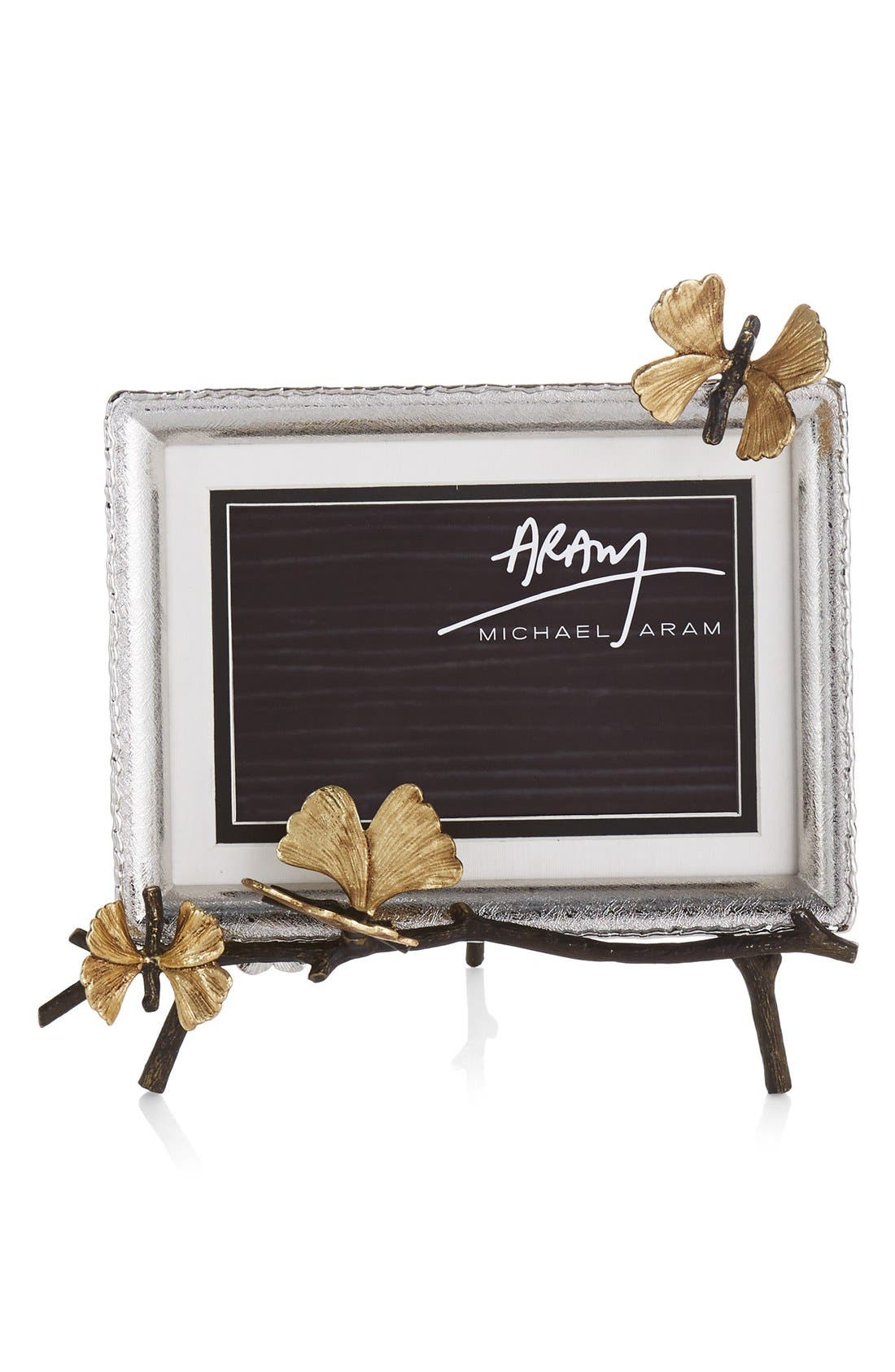 MICHAEL ARAM Butterfly Ginkgo Easel Picture Frame, Main, color, GOLD