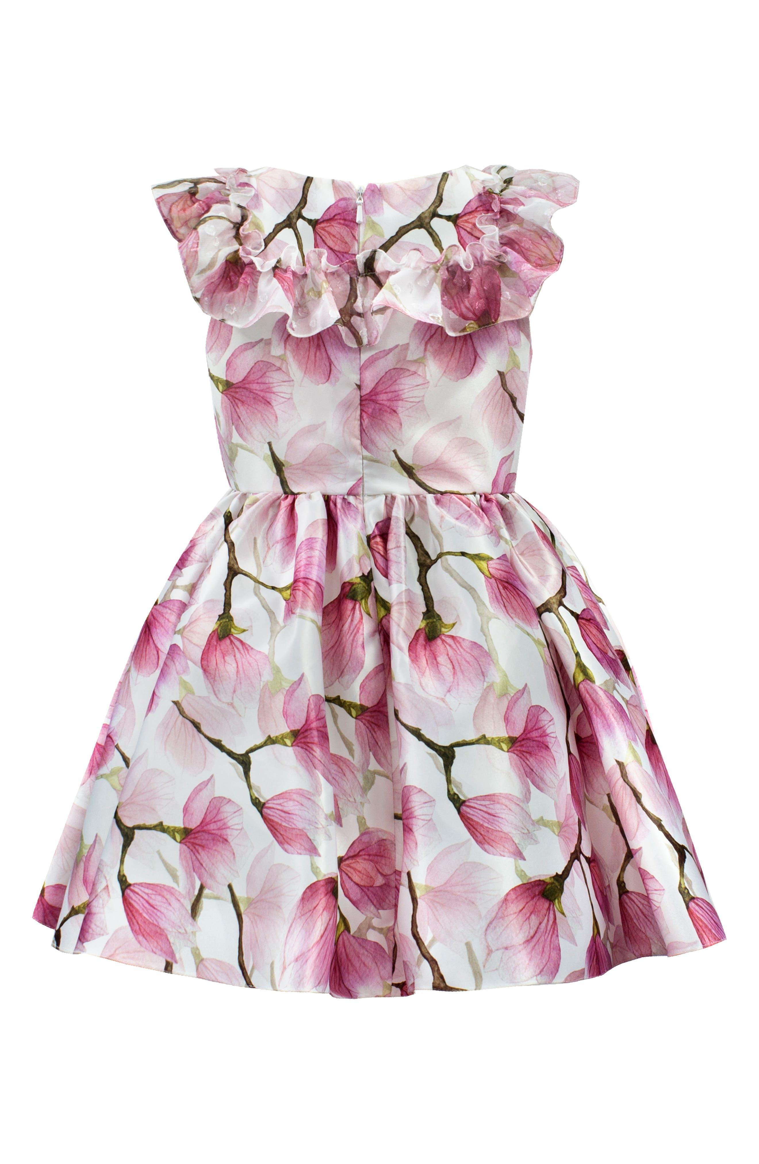 DAVID CHARLES, Floral Ruffle Party Dress, Alternate thumbnail 2, color, PINK