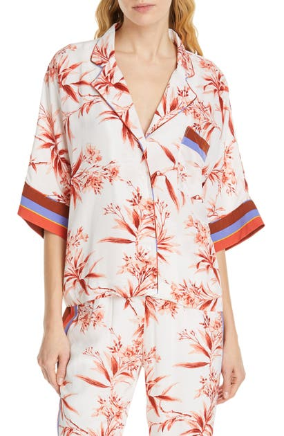 Joie Tops BAYLEY TROPICAL PRINT STRIPE CONTRAST TOP