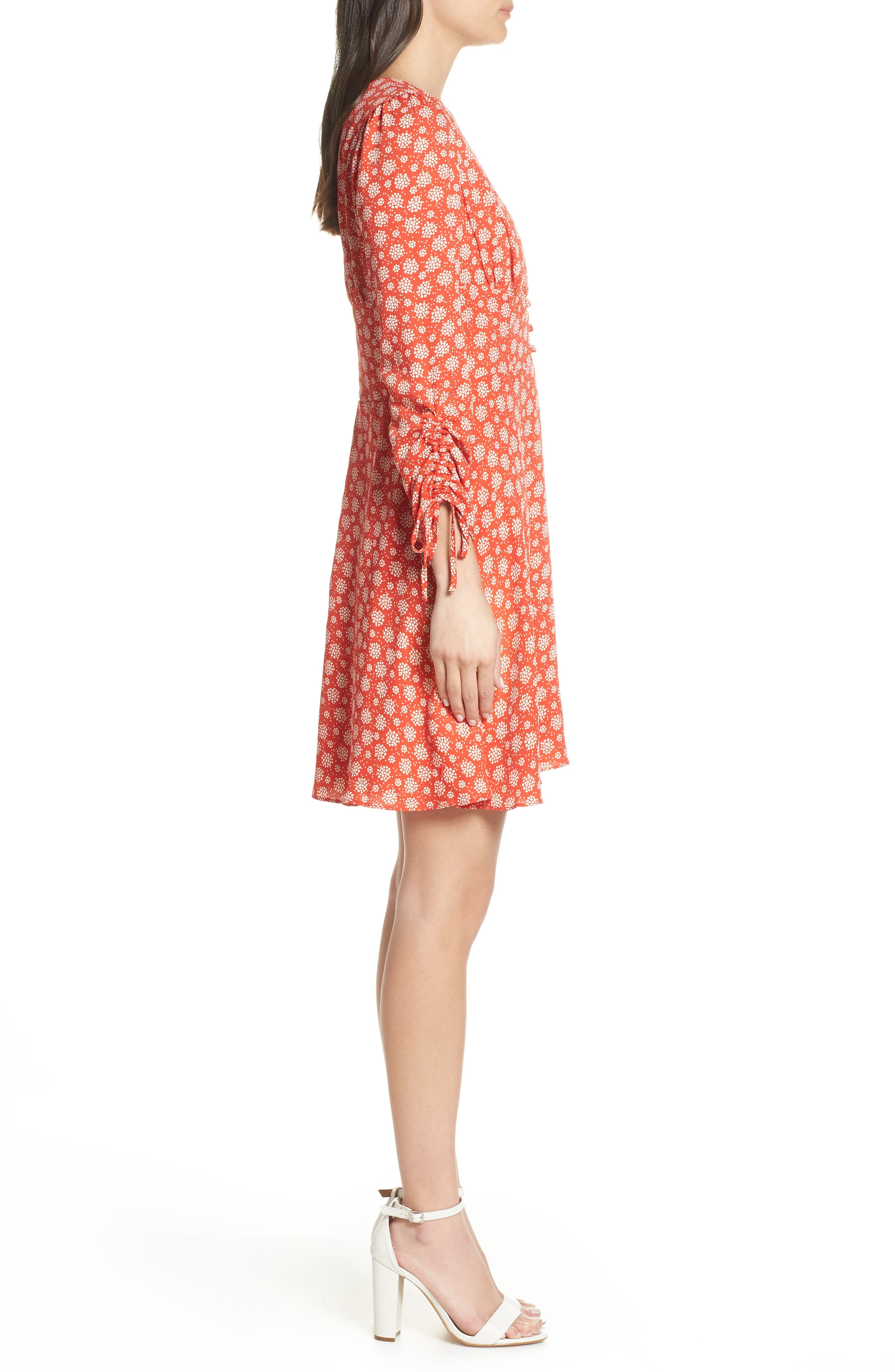 19 COOPER, Ruched Sleeve Fit & Flare Dress, Alternate thumbnail 4, color, 610