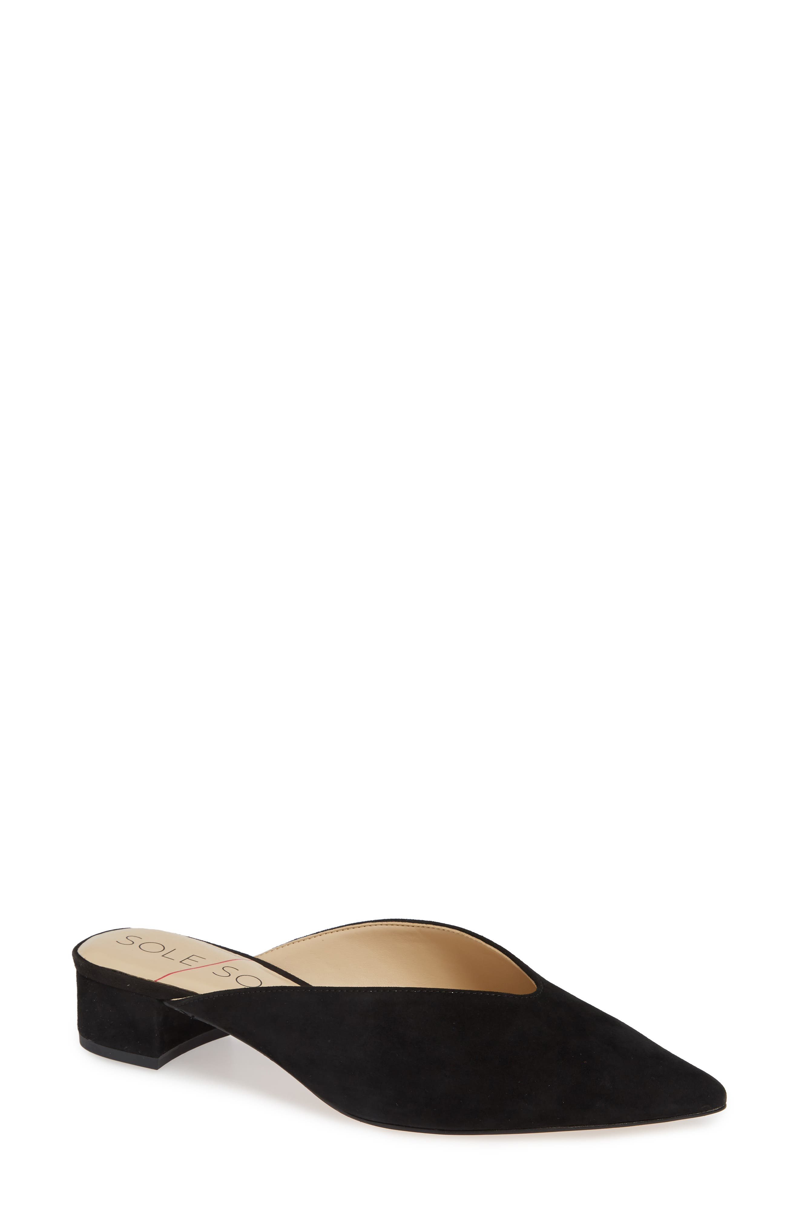 SOLE SOCIETY, Marlessa Mule, Main thumbnail 1, color, BLACK SUEDE
