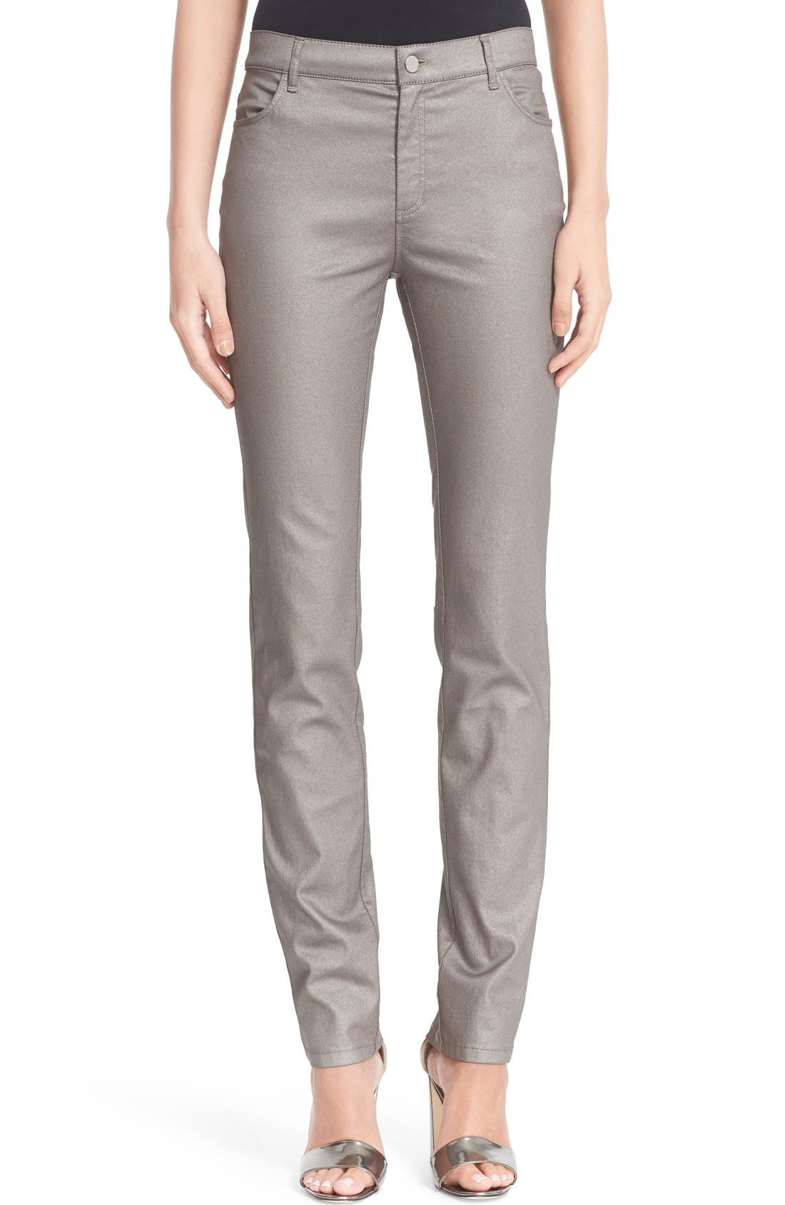 LAFAYETTE 148 NEW YORK, Curvy Fit Skinny Jeans, Alternate thumbnail 11, color, SILVER