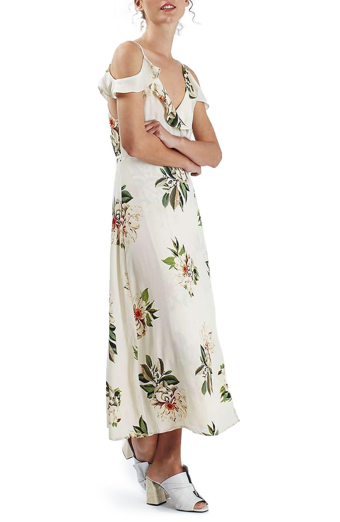 TOPSHOP, Floral Print Ruffle Cold Shoulder Wrap Maxi Dress, Alternate thumbnail 4, color, 900