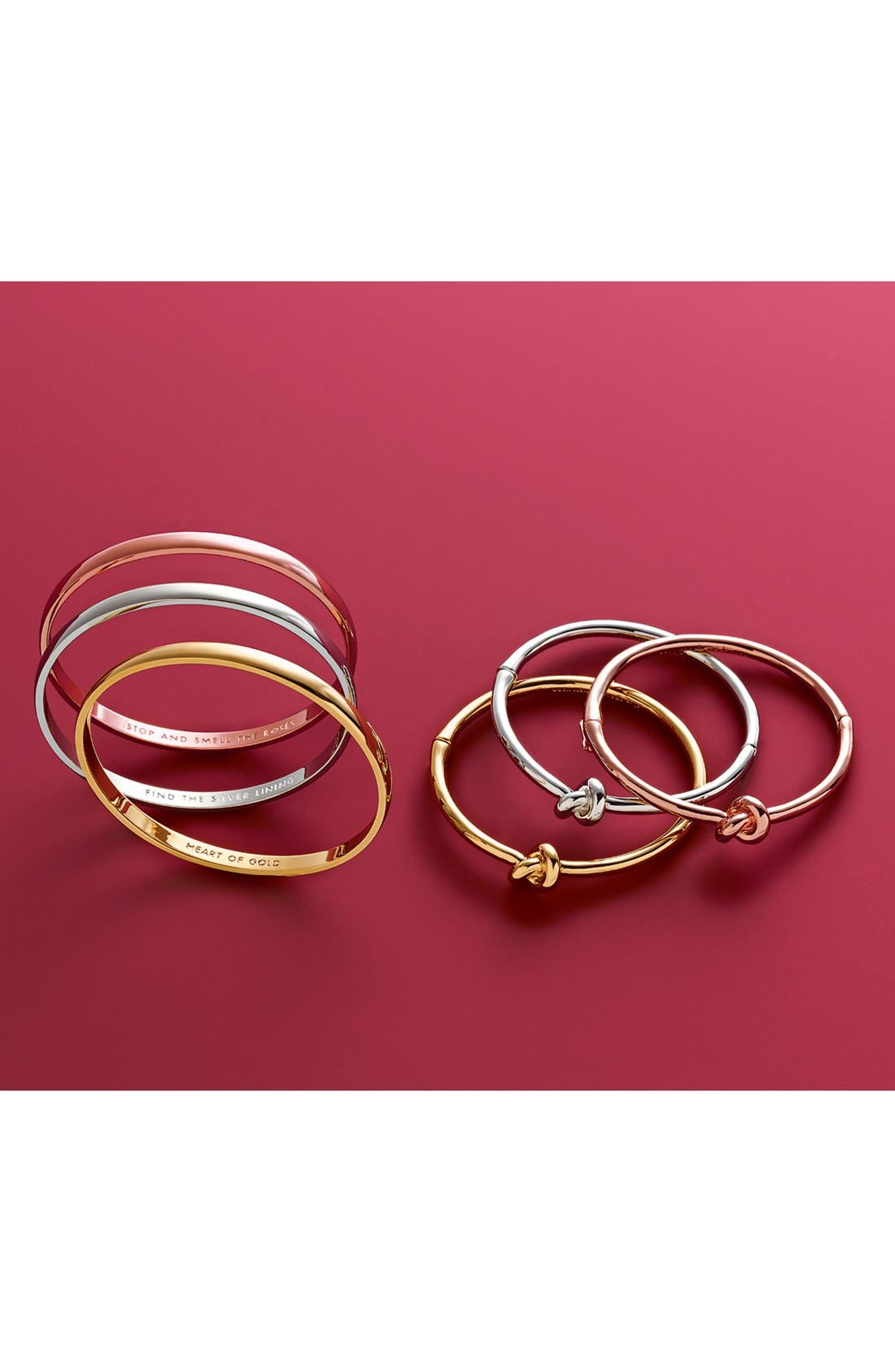 KATE SPADE NEW YORK, 'idiom - stop and smell the roses' bangle, Alternate thumbnail 2, color, ROSE GOLD