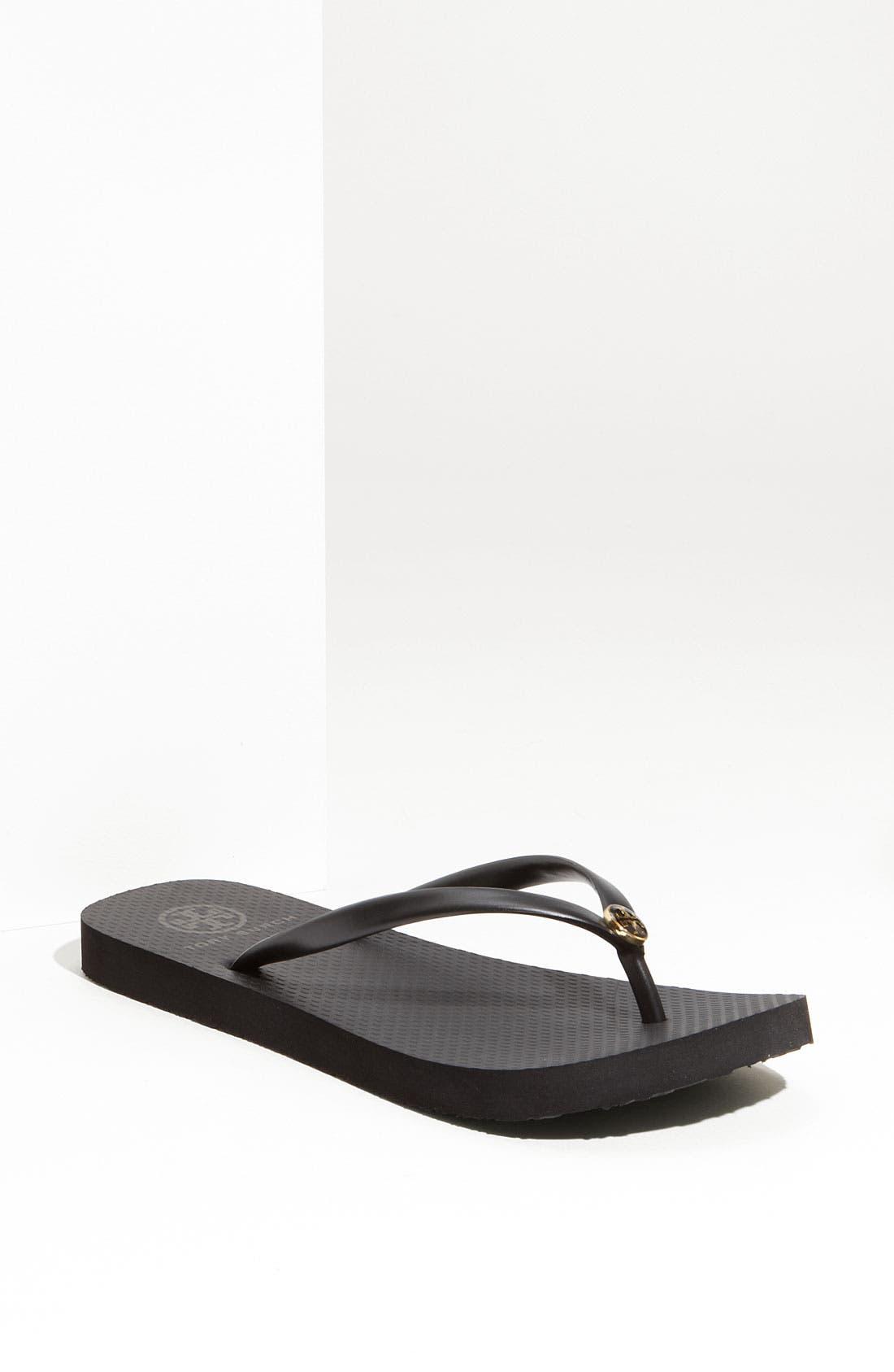 TORY BURCH 'Thin' Flip Flop, Main, color, BLACK BLACK