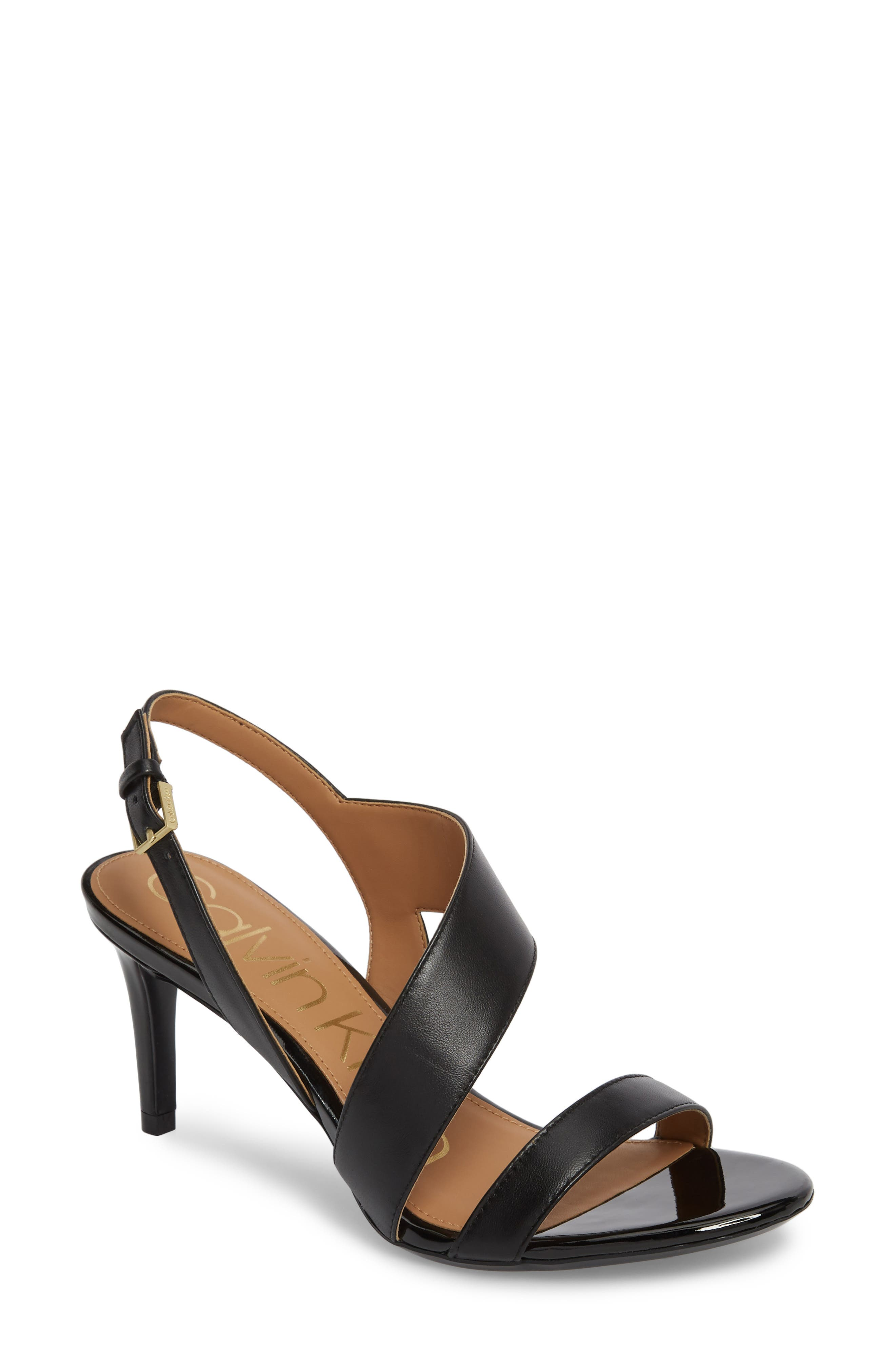 CALVIN KLEIN Lancy Sandal, Main, color, BLACK LEATHER