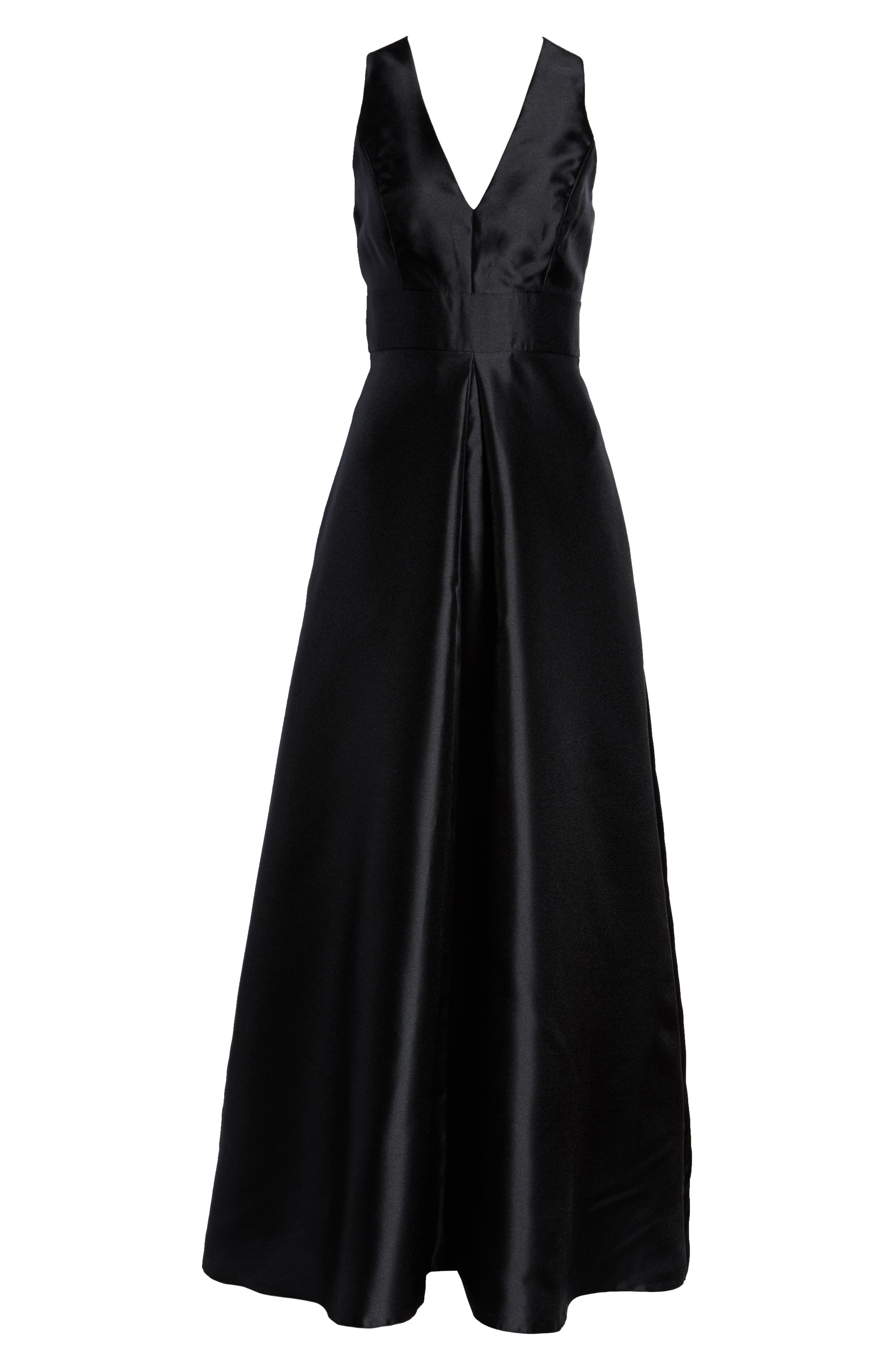 ALFRED SUNG, Sleeveless Sateen Gown, Alternate thumbnail 3, color, BLACK