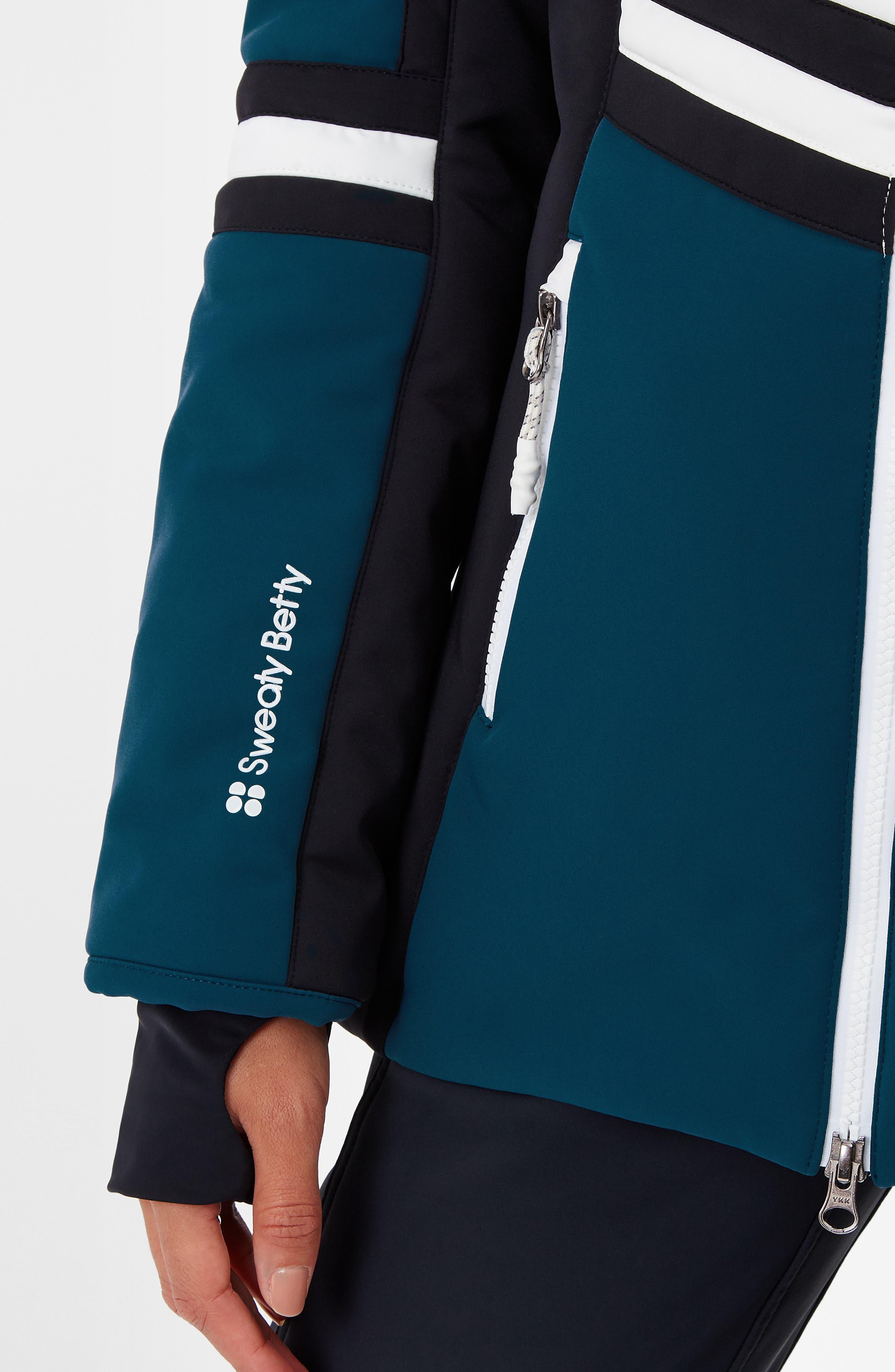 SWEATY BETTY, Method Hybrid Waterproof Ski Jacket with Faux Fur, Alternate thumbnail 7, color, BEETLE BLUE COLOUR BLOCK
