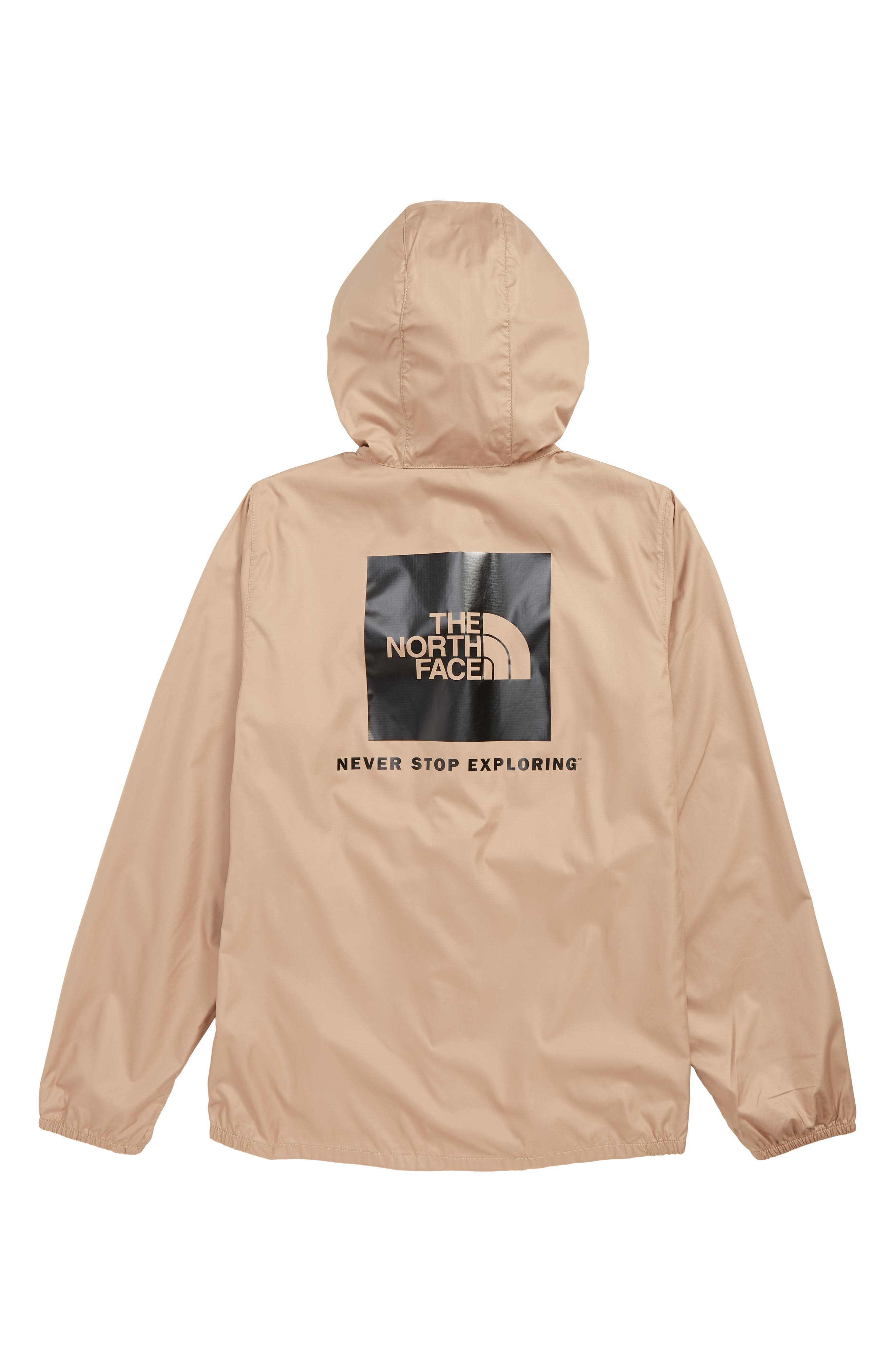 THE NORTH FACE, Flurry Water Repellent Hooded Windbreaker, Alternate thumbnail 2, color, KELP TAN