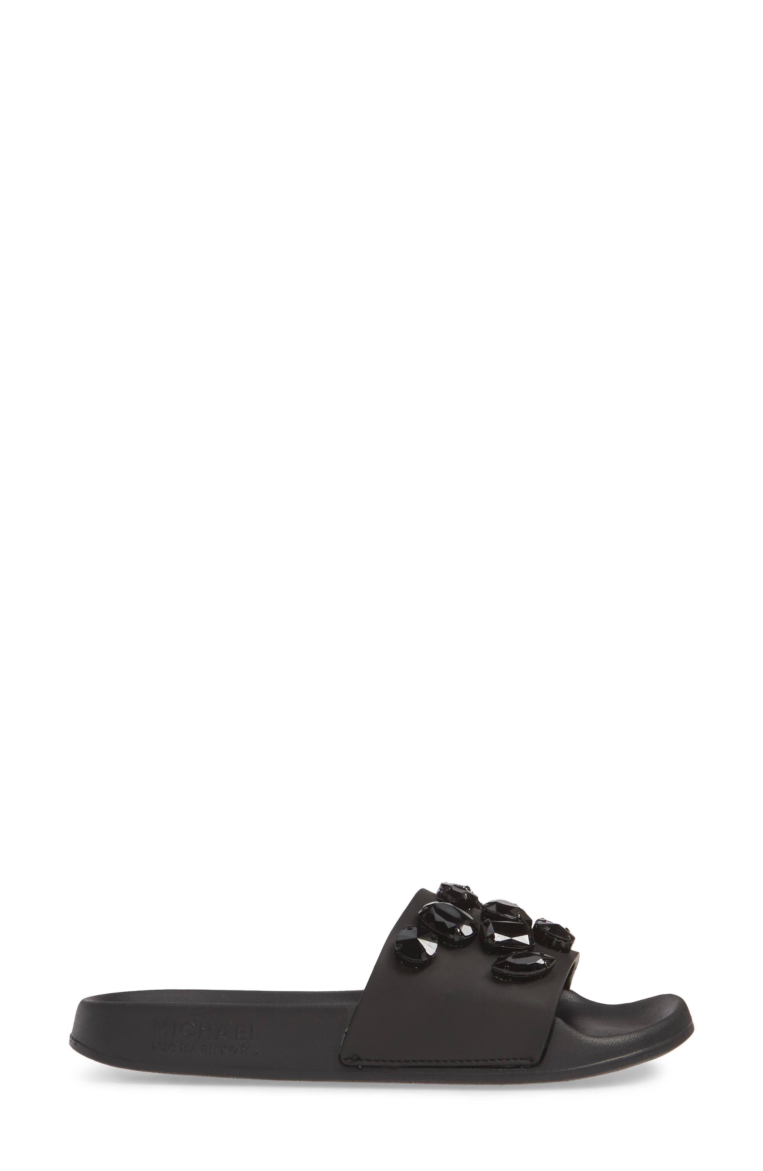 MICHAEL MICHAEL KORS, Gilmore Slide Sandal, Alternate thumbnail 3, color, BLACK