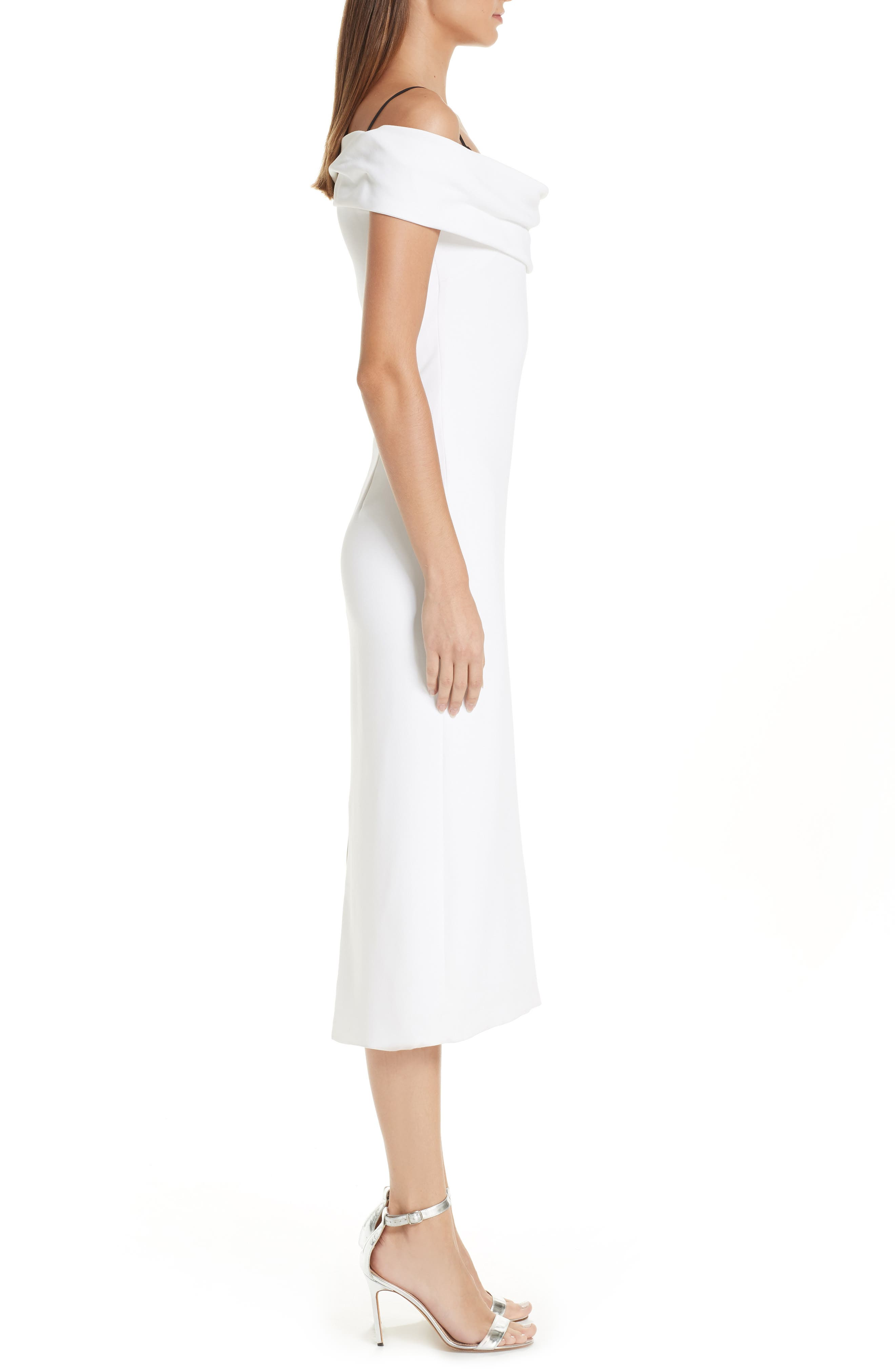 CUSHNIE, Layered Off the Shoulder Dress, Alternate thumbnail 4, color, WHITE/ BLACK