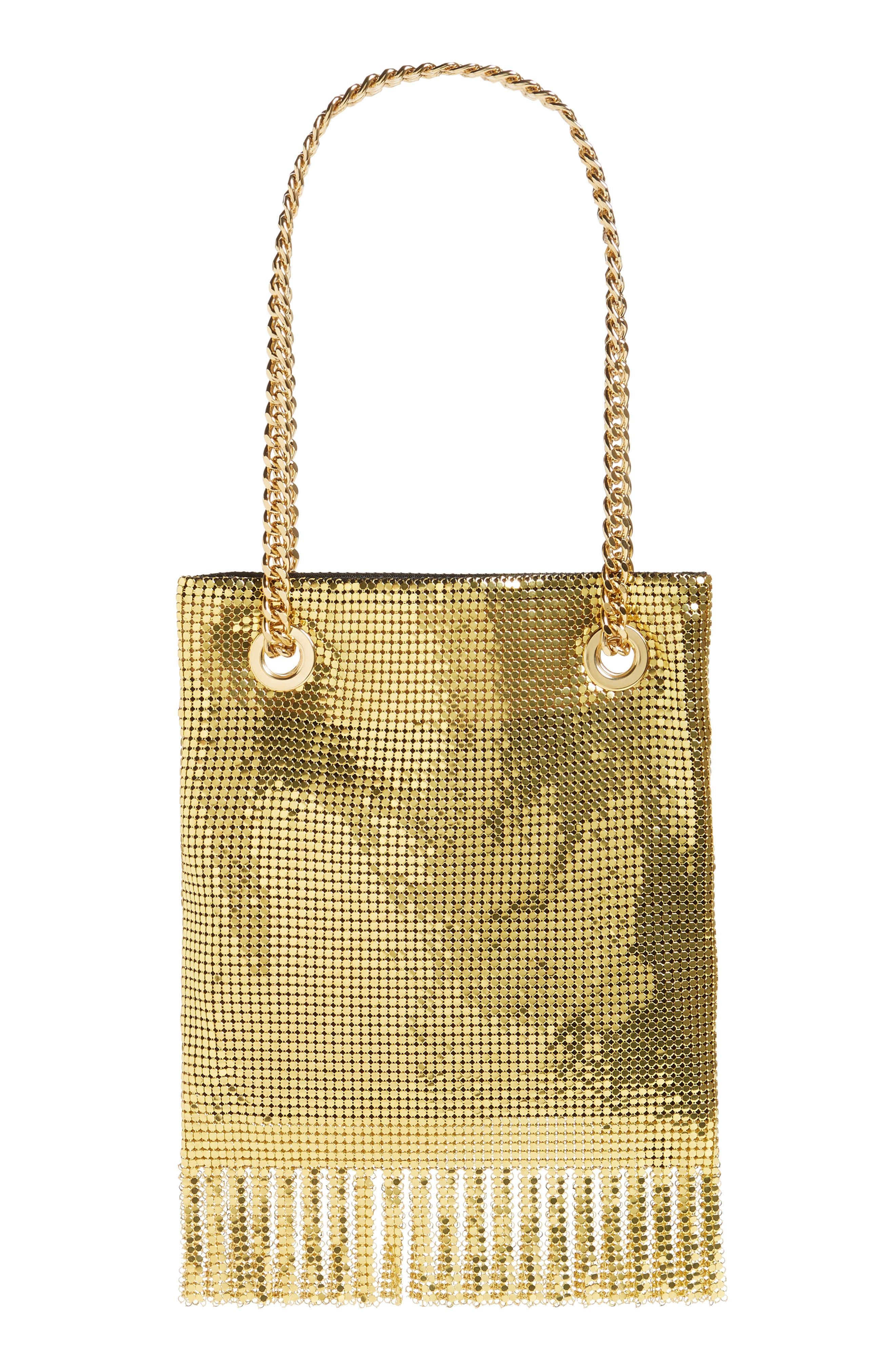 MOSCHINO, Logo Metallic Mesh Fringe Bag, Alternate thumbnail 4, color, GOLD