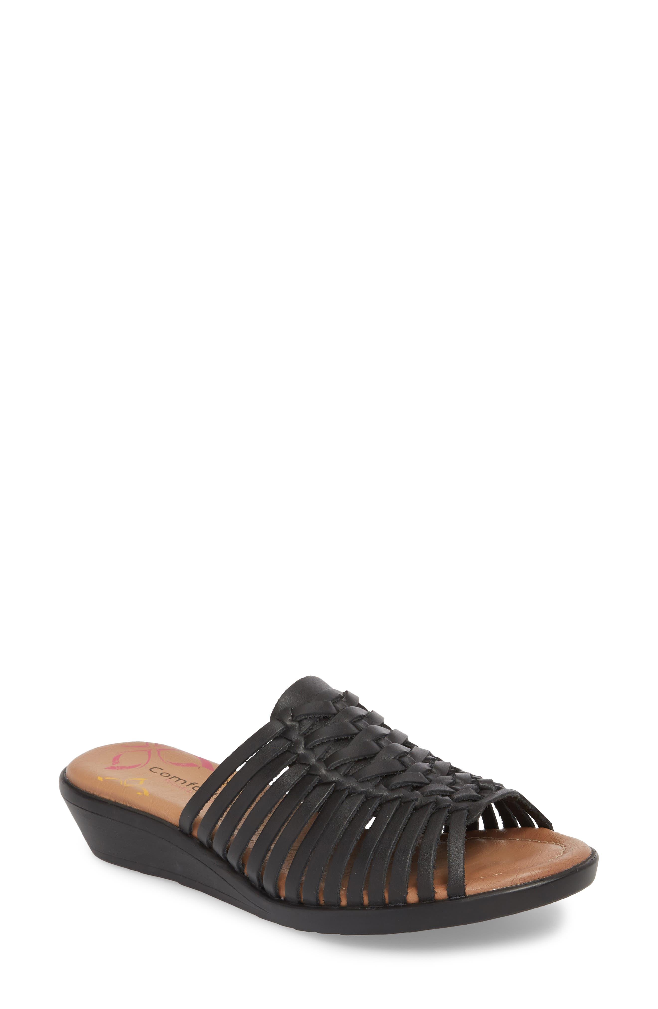 COMFORTIVA, Felida Huarache Slide Sandal, Main thumbnail 1, color, BLACK LEATHER