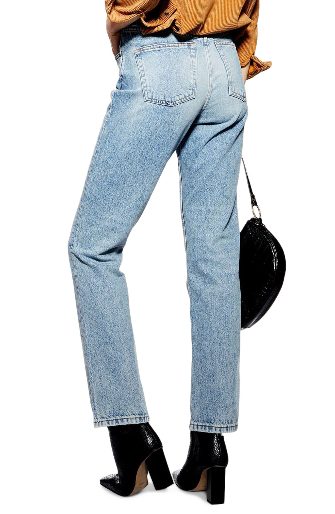 TOPSHOP, Editor Straight Leg Jeans, Alternate thumbnail 2, color, BLEACH