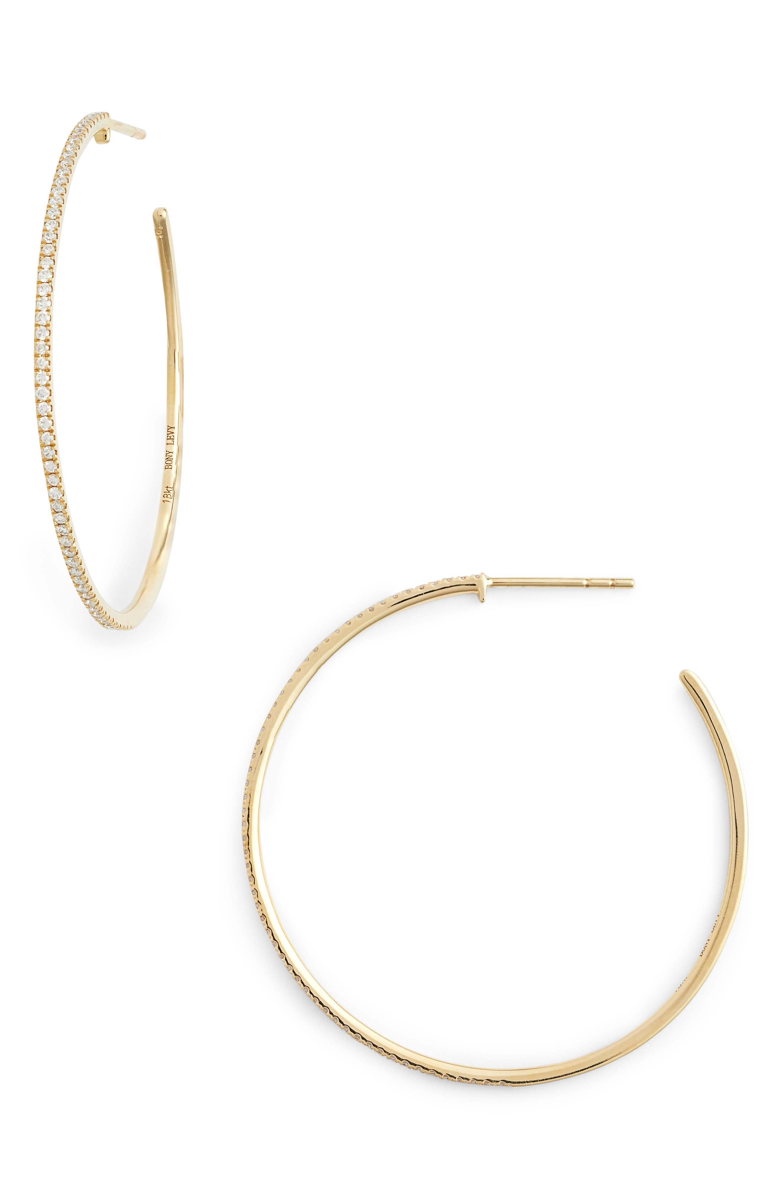 BONY LEVY, Large Diamond Hoop Earrings, Main thumbnail 1, color, YELLOW GOLD