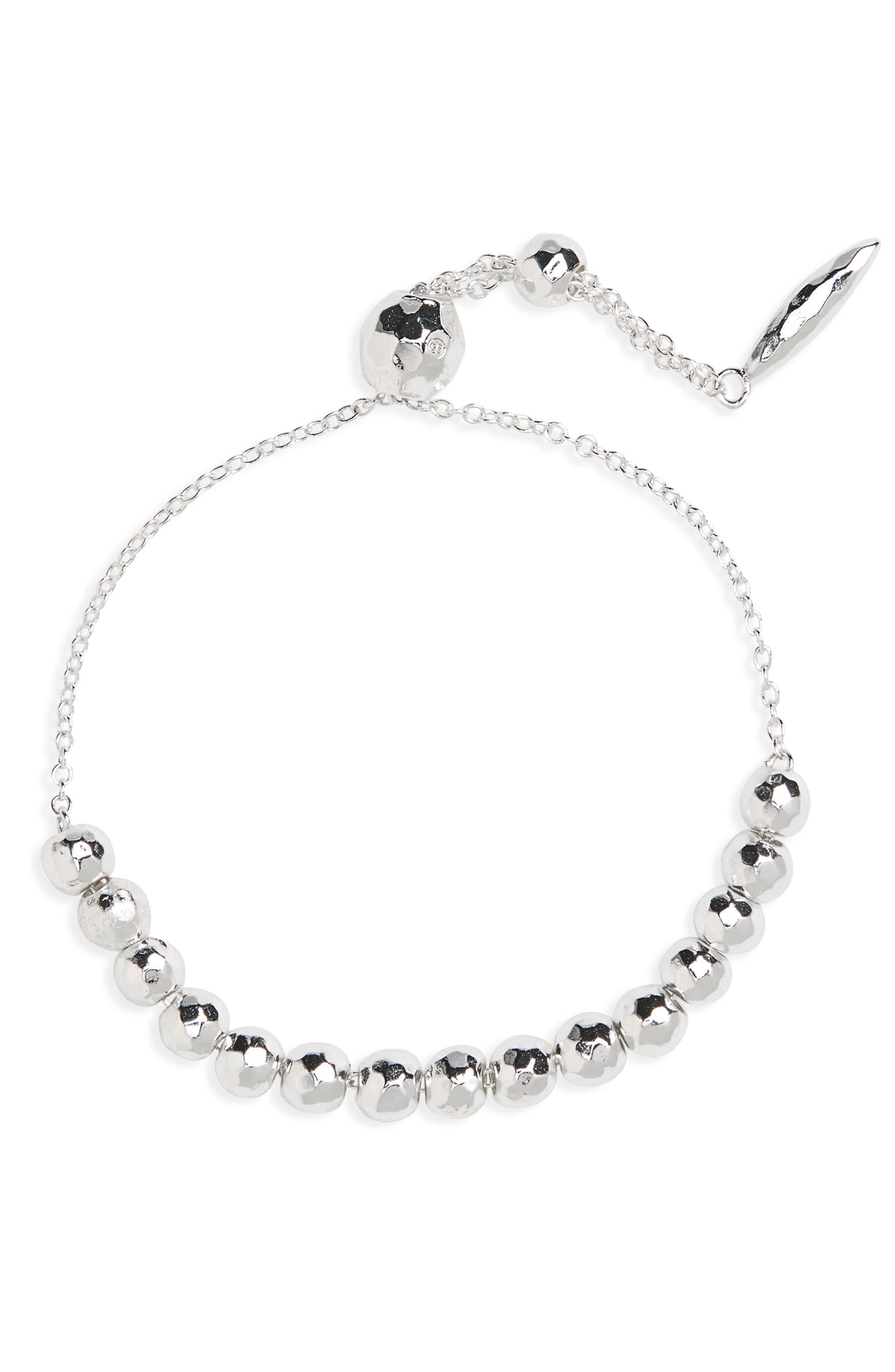 GORJANA, Laguna Adjustable Bracelet, Main thumbnail 1, color, SILVER