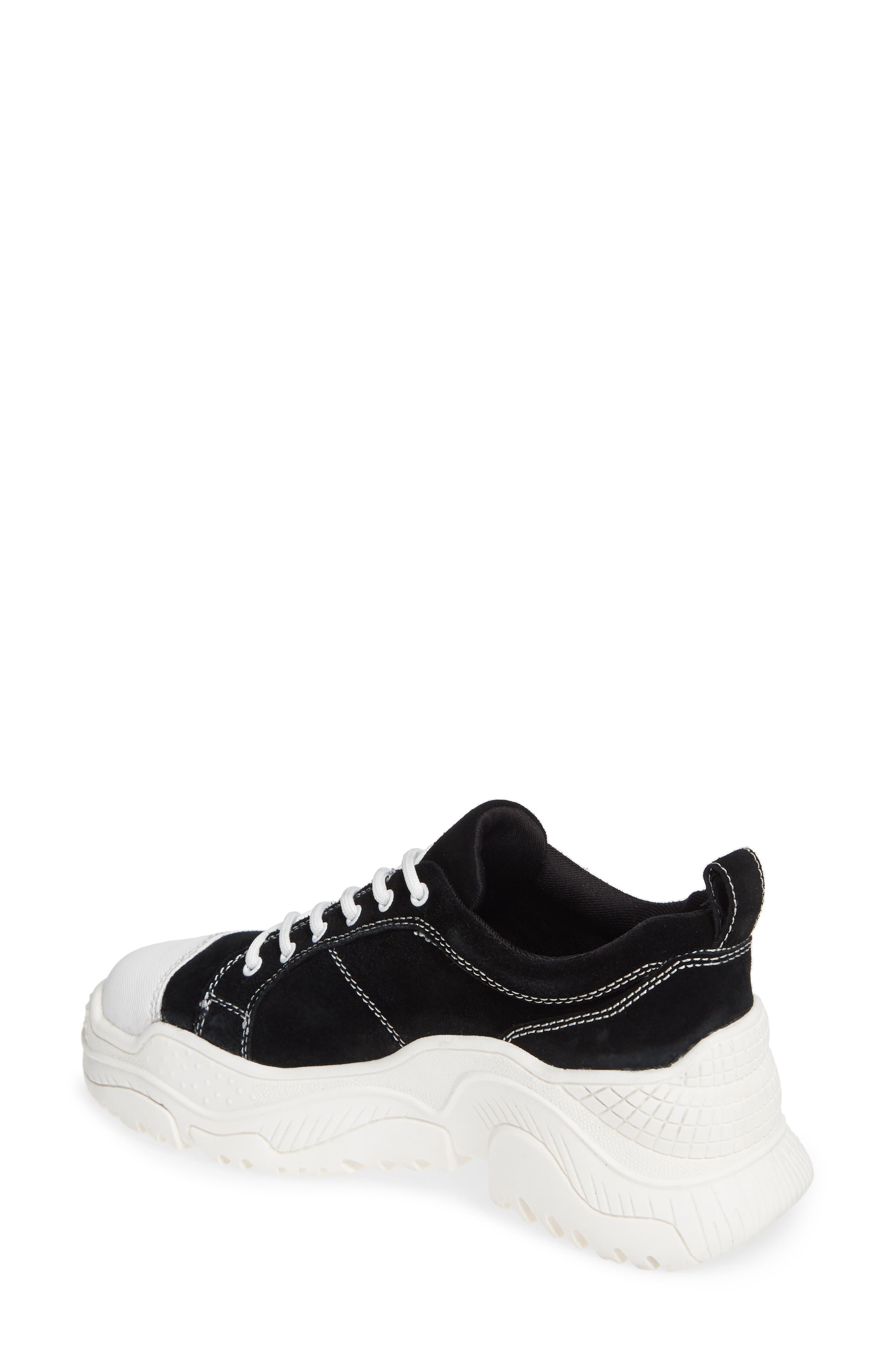 JEFFREY CAMPBELL, Remnant Sneaker, Alternate thumbnail 2, color, BLACK SUEDE WHITE