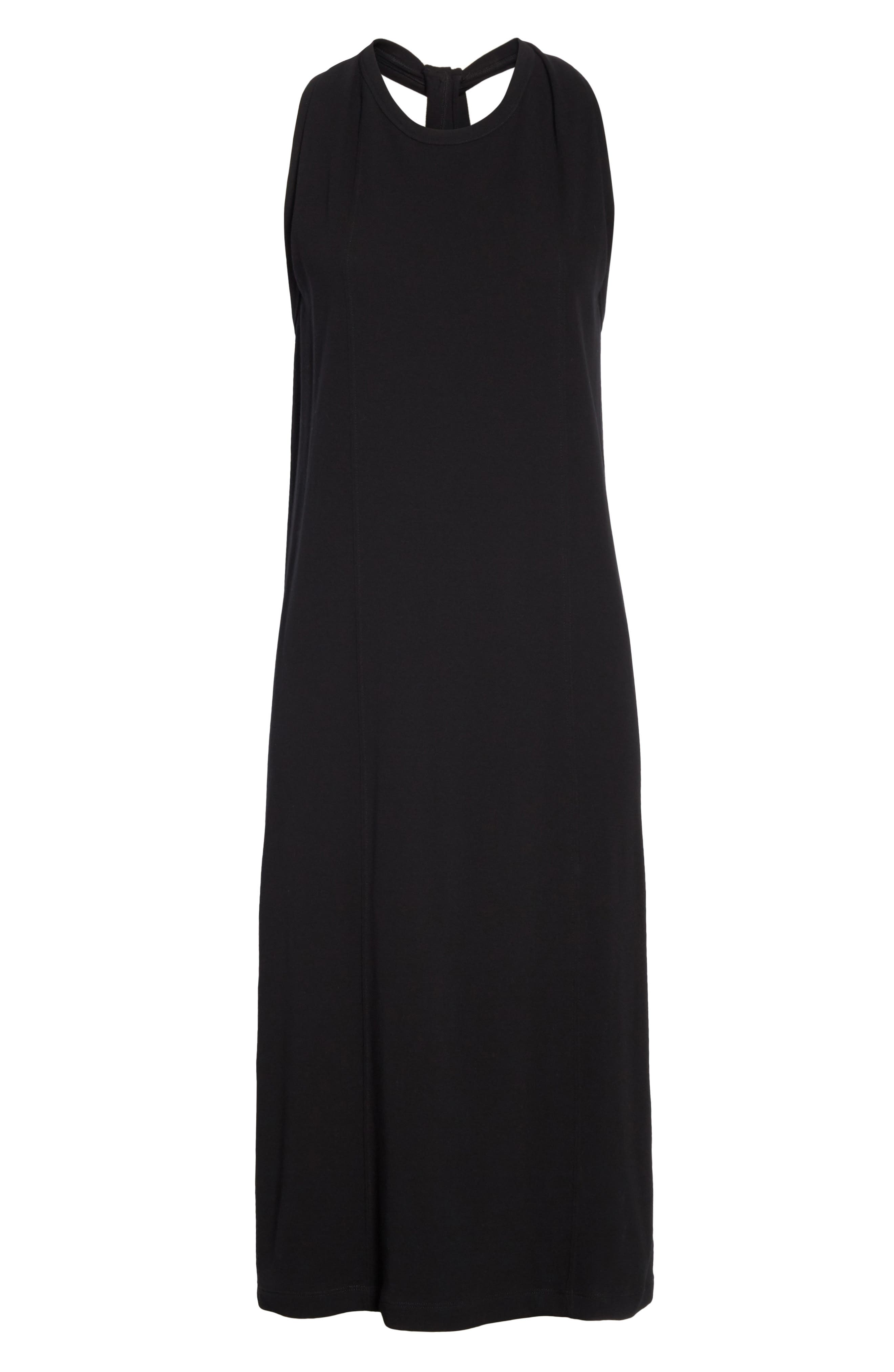 HELMUT LANG, Halter Neck Cotton Jersey Dress, Alternate thumbnail 7, color, BLACK