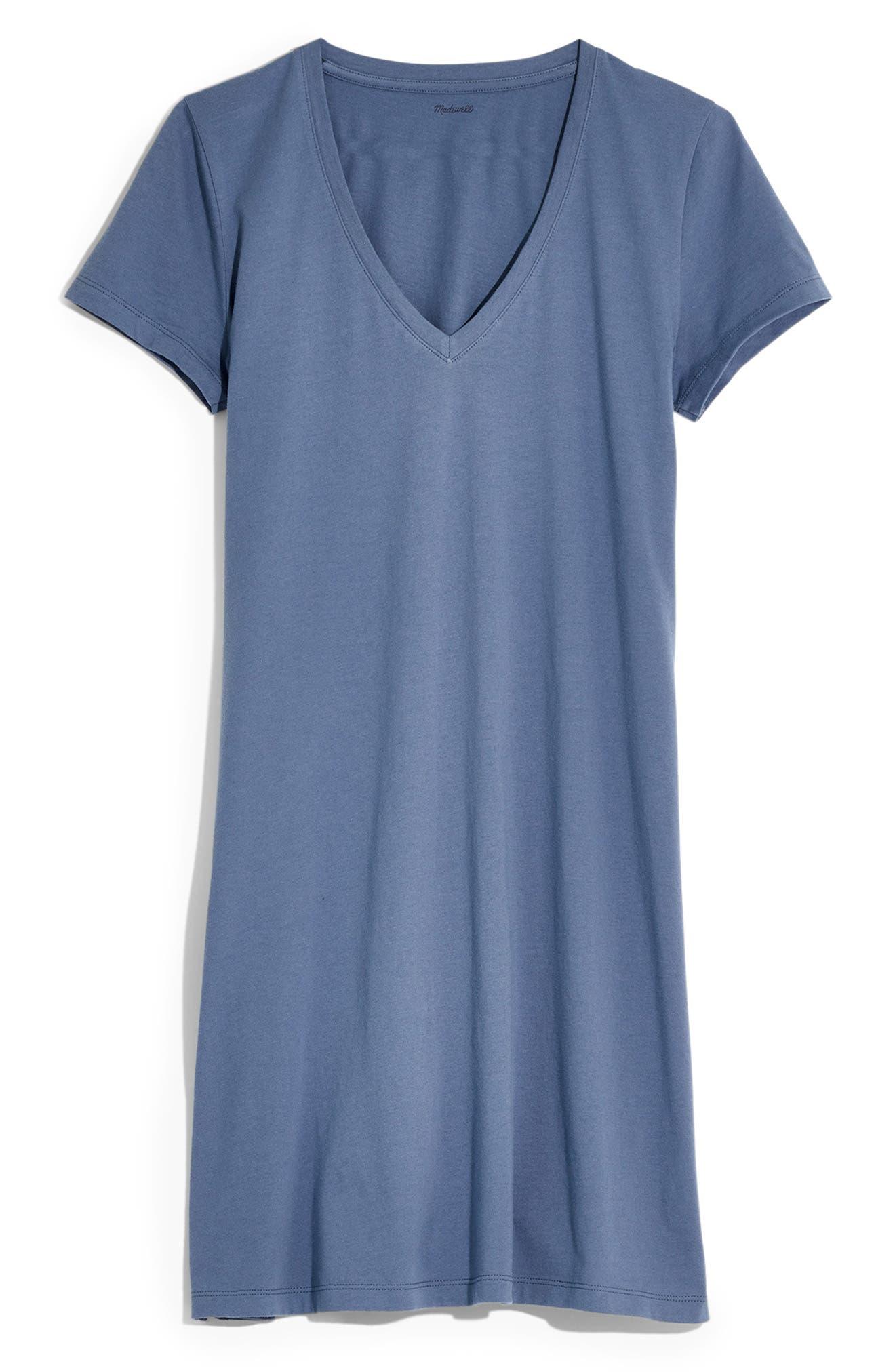 MADEWELL, Northside V-Neck T-Shirt Dress, Alternate thumbnail 5, color, PALE SHADOW
