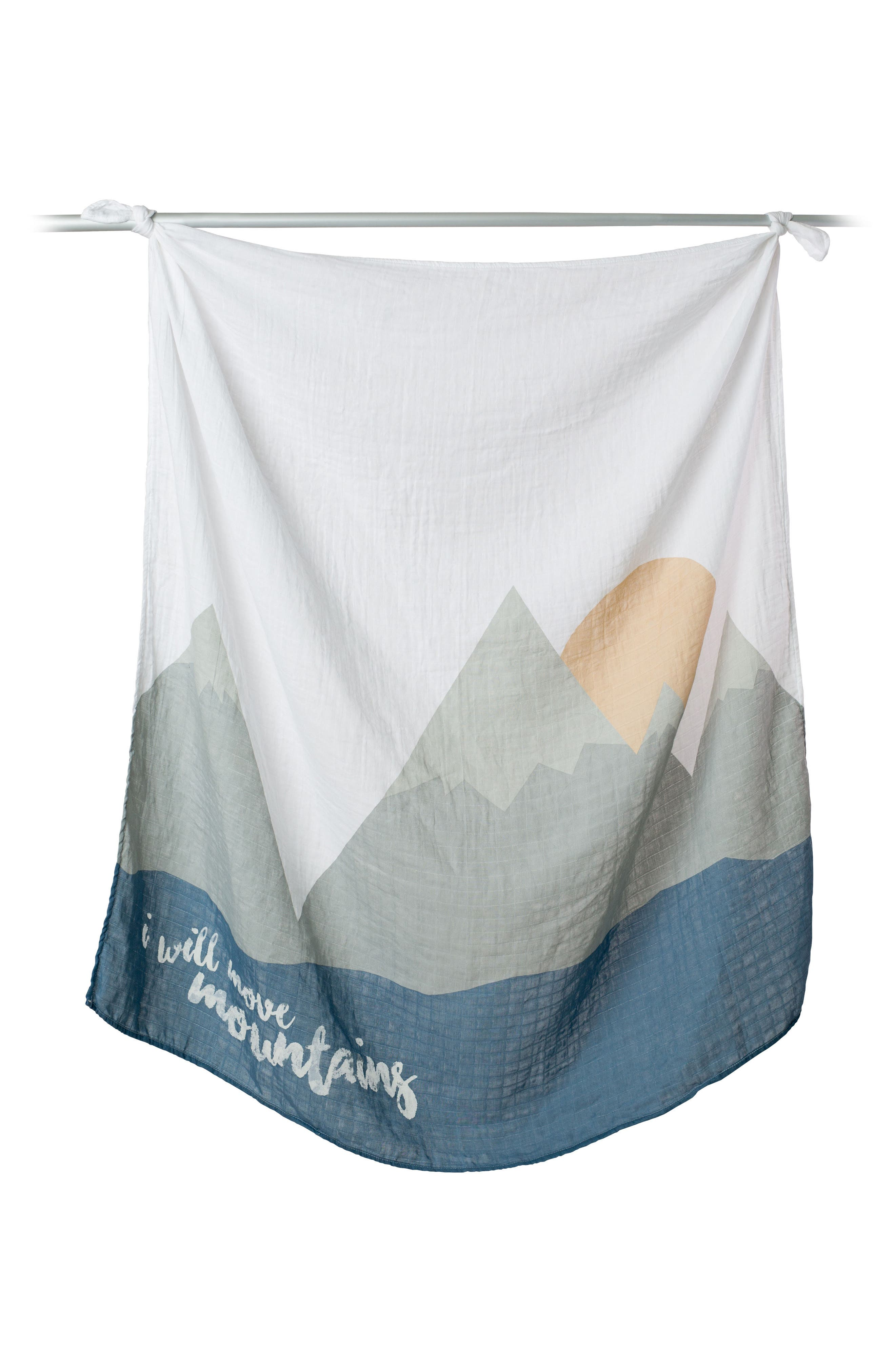 LULUJO, Baby's First Year - I Will Move Mountains Muslin Blanket & Milestone Card Set, Main thumbnail 1, color, WILL MOVE MOUNTAINS