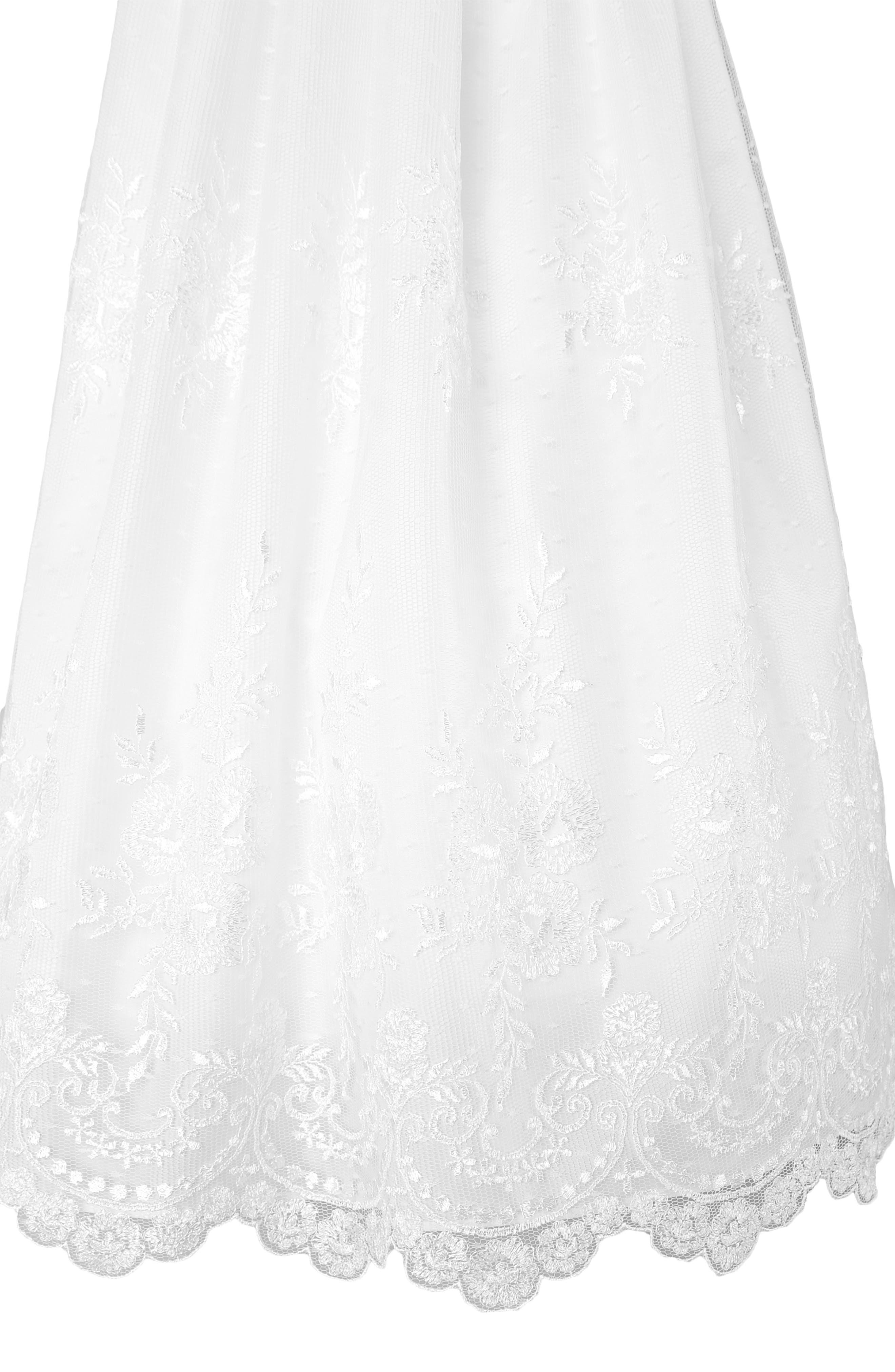 LITTLE THINGS MEAN A LOT, Christening Gown, Shawl, Slip & Bonnet Set, Alternate thumbnail 2, color, WHITE