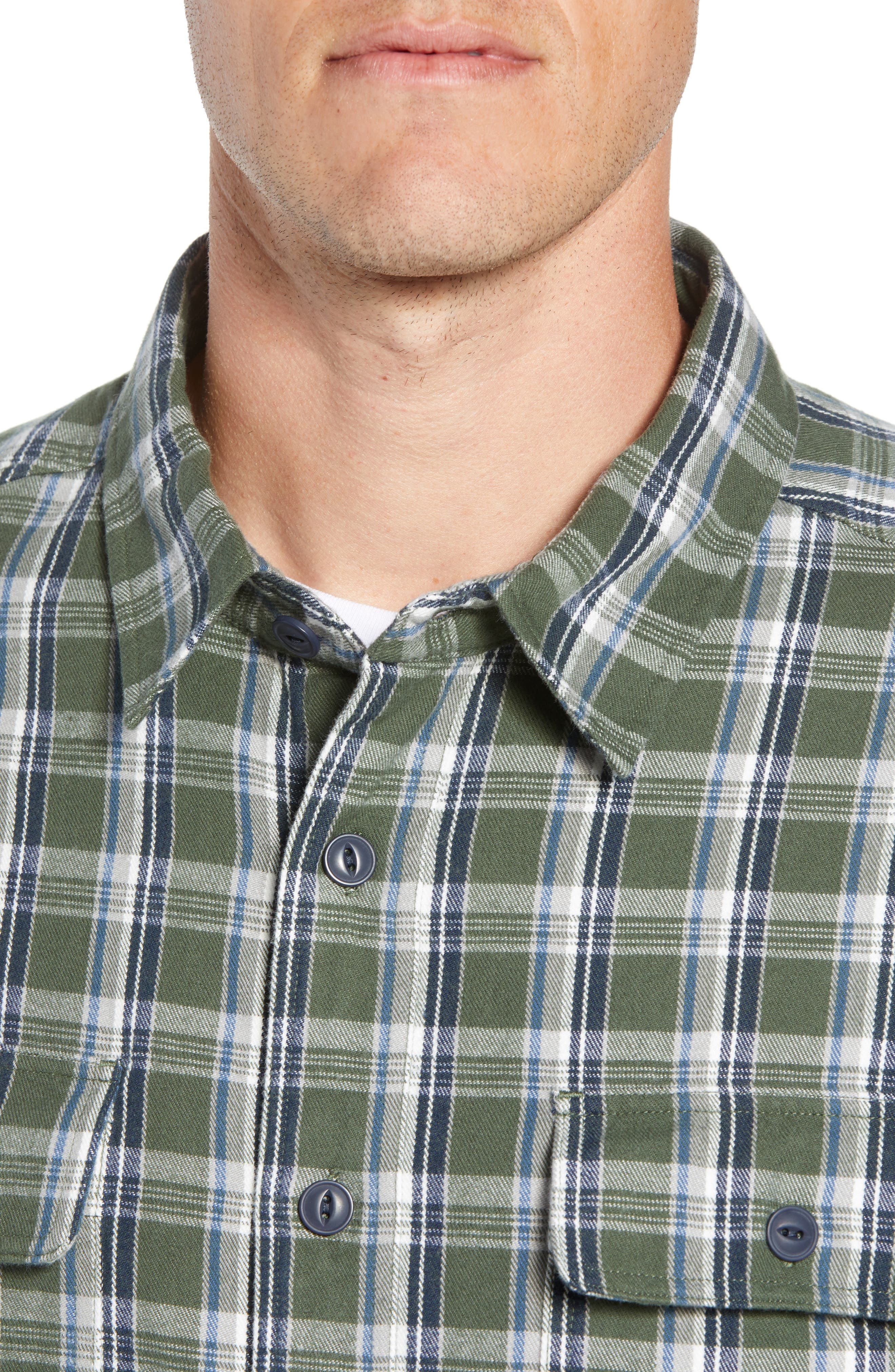 UGG<SUP>®</SUP>, Anders Flannel Sport Shirt, Alternate thumbnail 2, color, ARMY GREEN PLAID