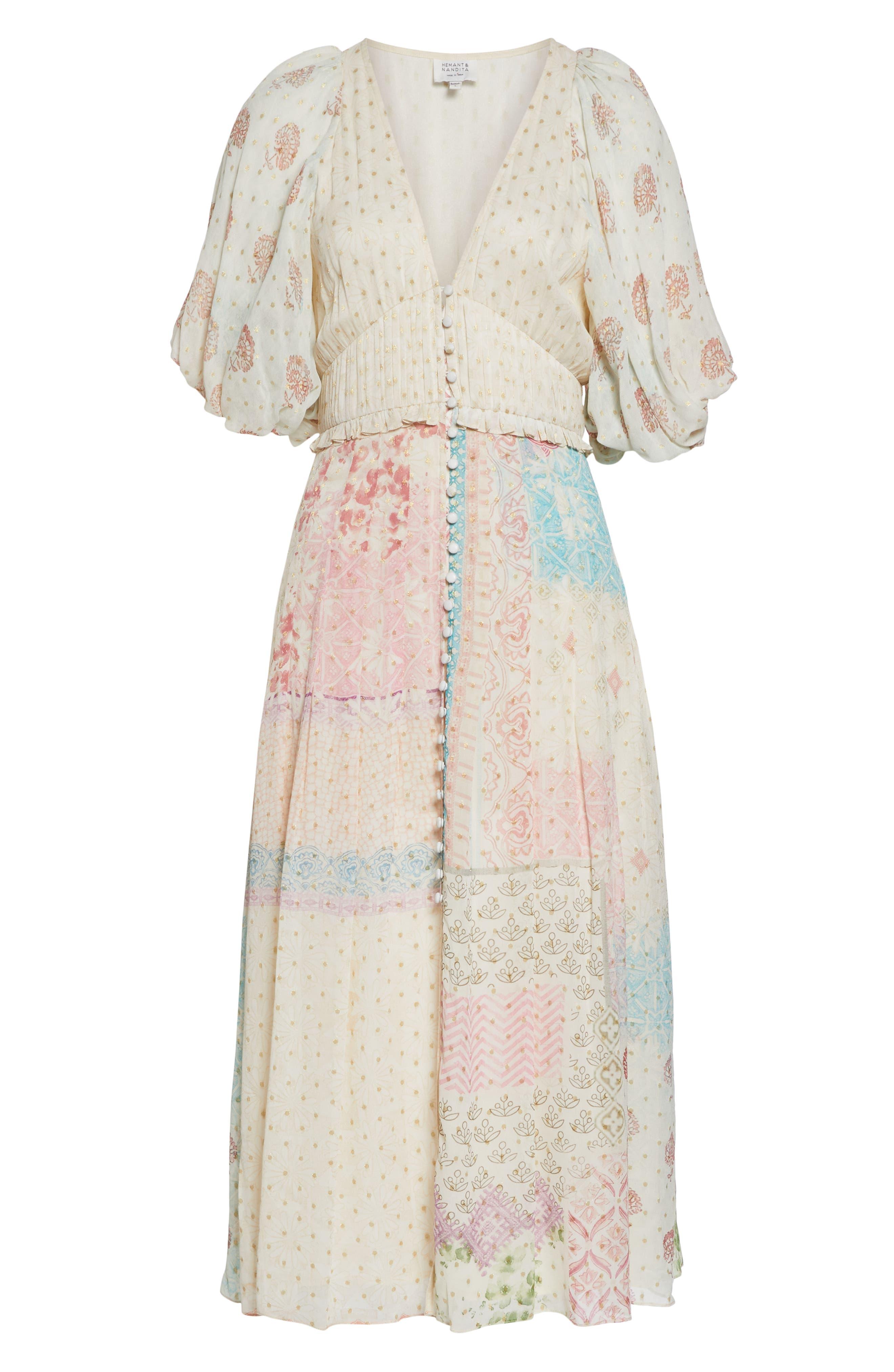HEMANT & NANDITA, Cover-Up Maxi Dress, Alternate thumbnail 6, color, PASTEL