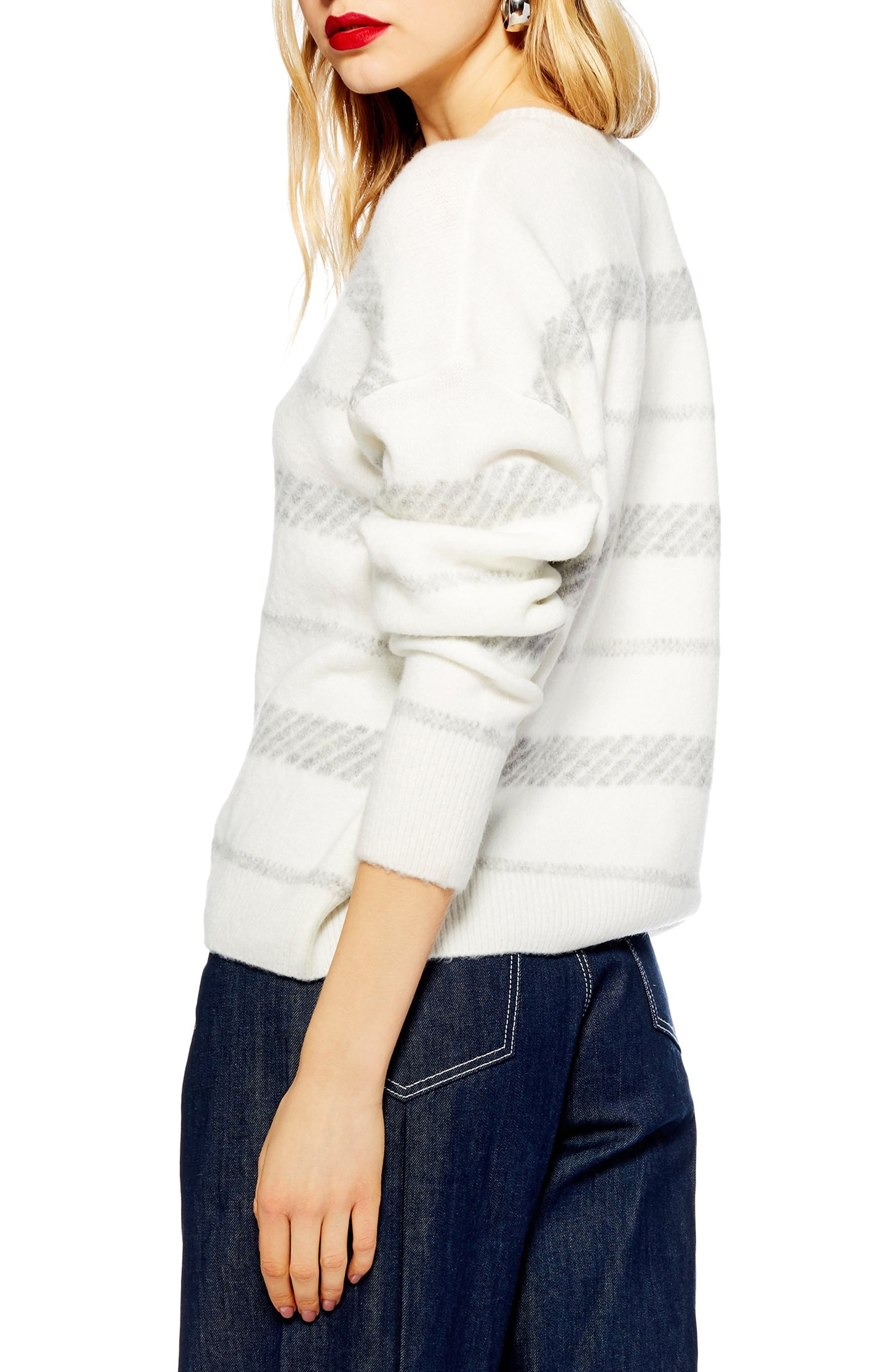 TOPSHOP, Supersoft Stripe Sweater, Alternate thumbnail 2, color, 900
