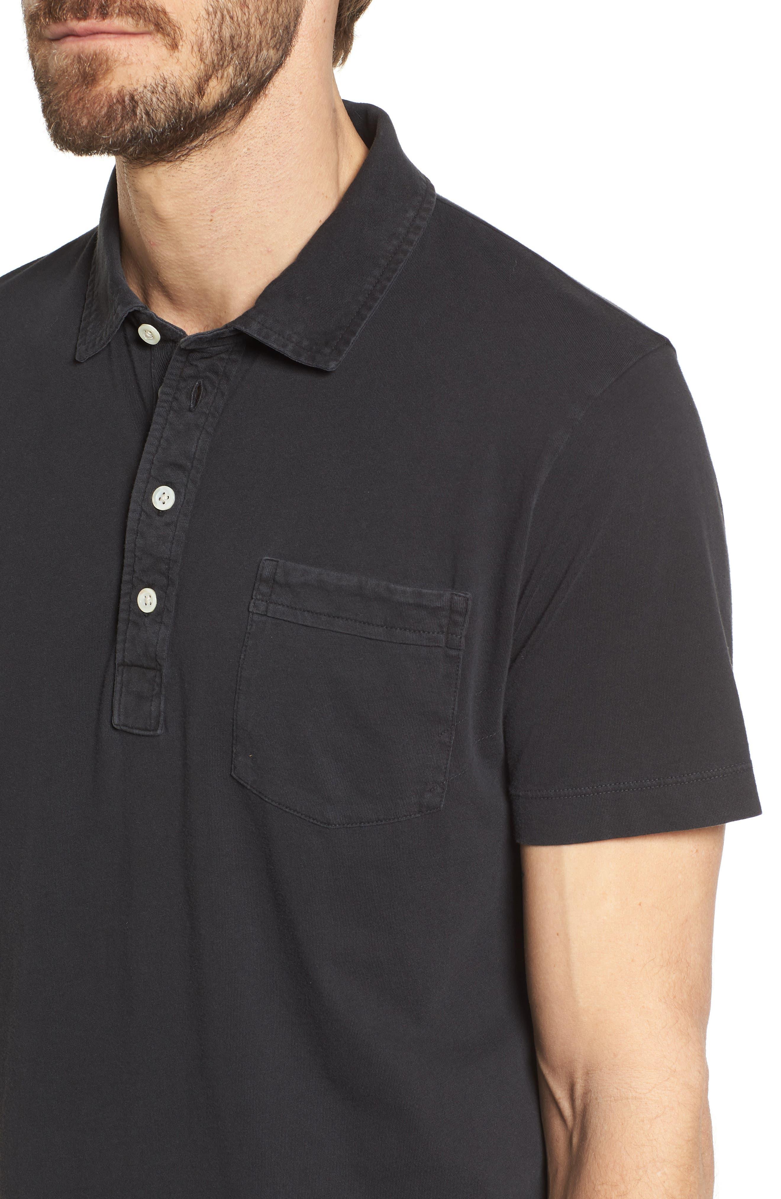BILLY REID, Pensacola Slim Fit Garment Dye Polo, Alternate thumbnail 4, color, BLACK
