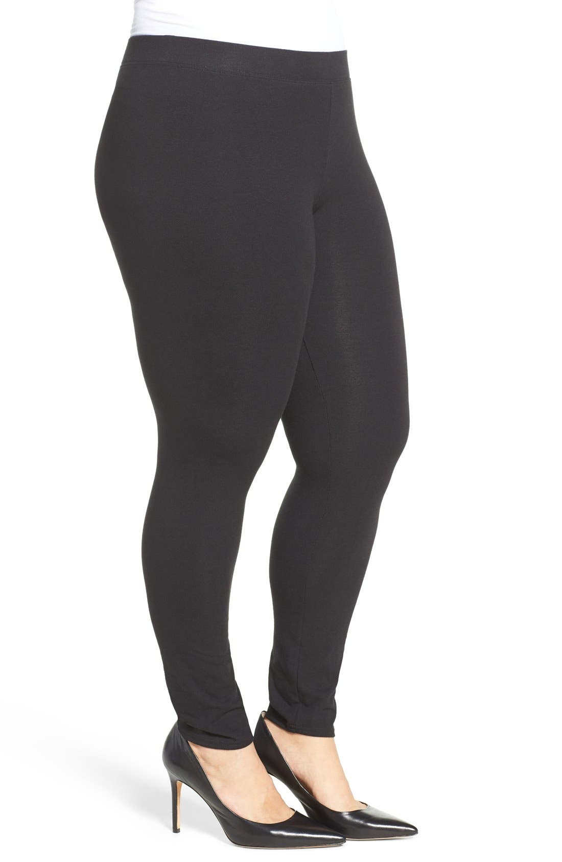 NORDSTROM, Go-To Leggings, Alternate thumbnail 4, color, 001