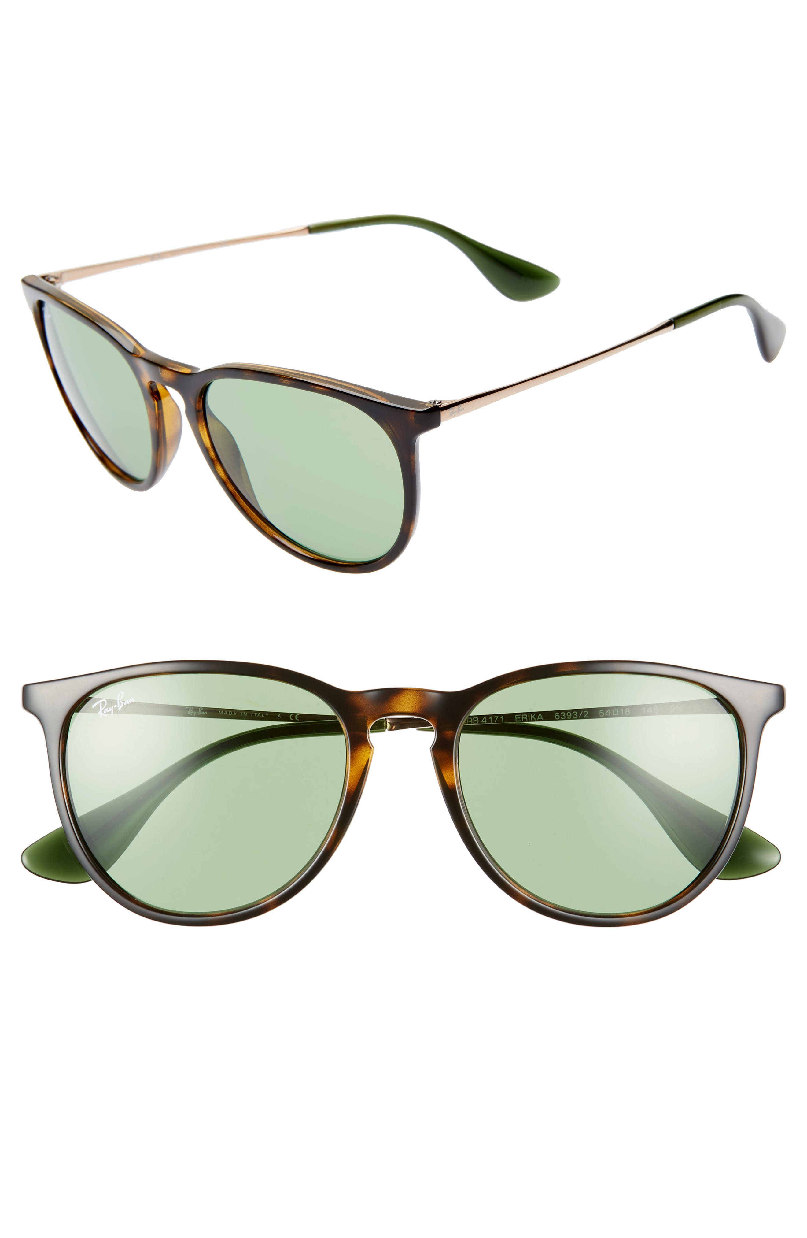 RAY-BAN, Erika Classic 54mm Sunglasses, Main thumbnail 1, color, HAVANA/ GREEN SOLID