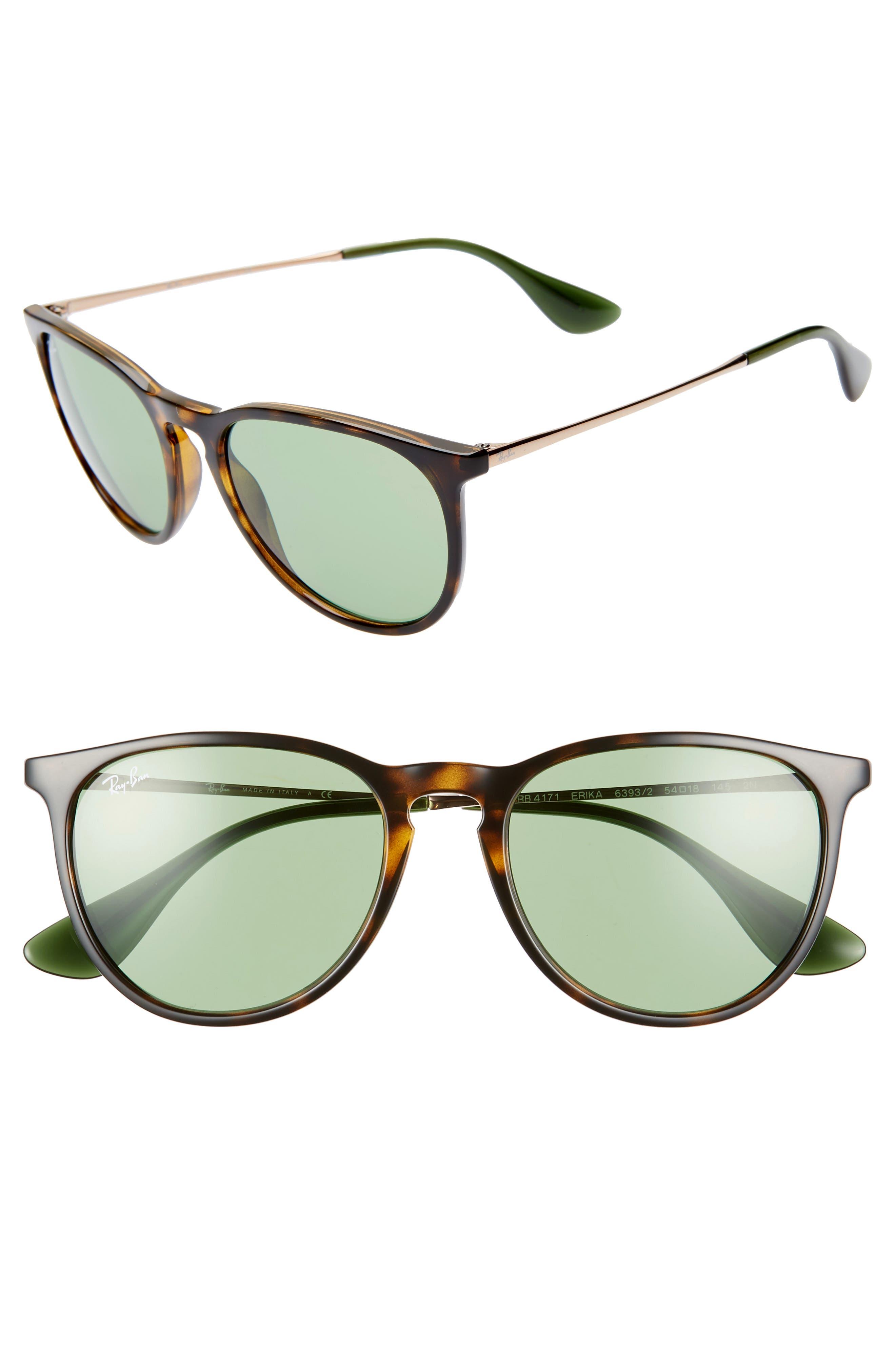 RAY-BAN Erika Classic 54mm Sunglasses, Main, color, HAVANA/ GREEN SOLID