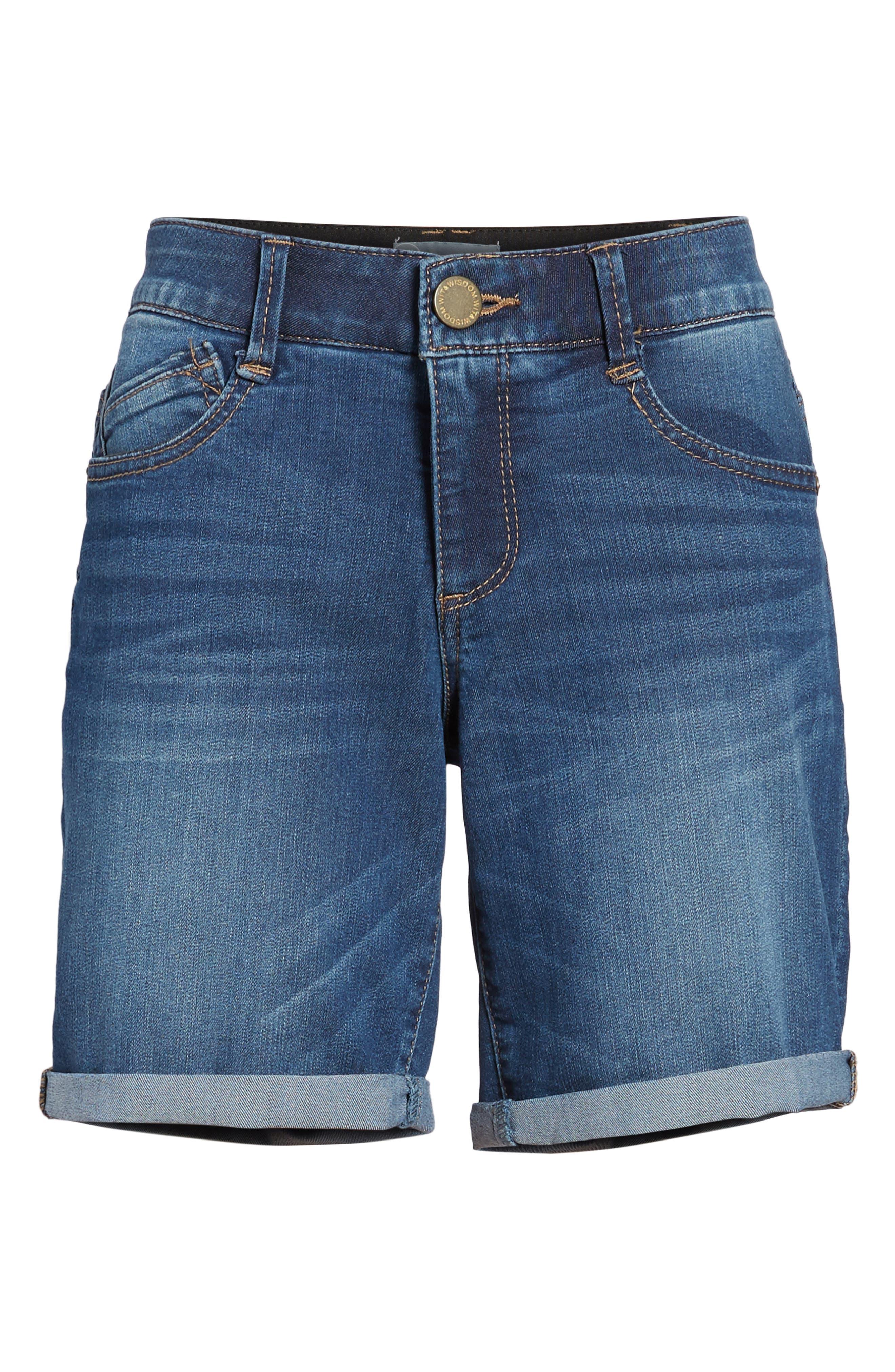 WIT & WISDOM, Ab-solution Cuffed Denim Shorts, Alternate thumbnail 7, color, BLUE