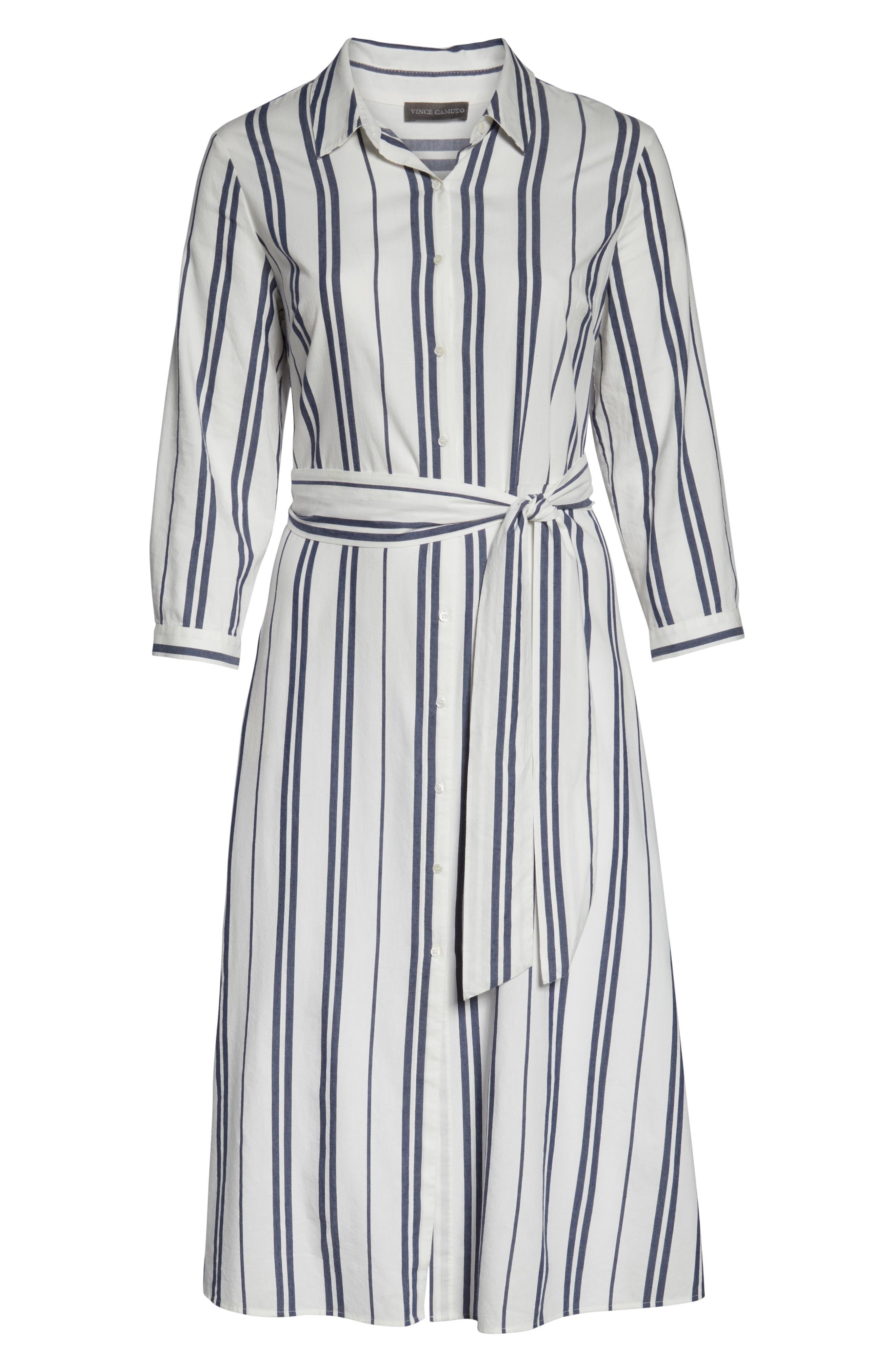 VINCE CAMUTO, Valiant Stripe Midi Shirtdress, Alternate thumbnail 7, color, PEARL IVORY
