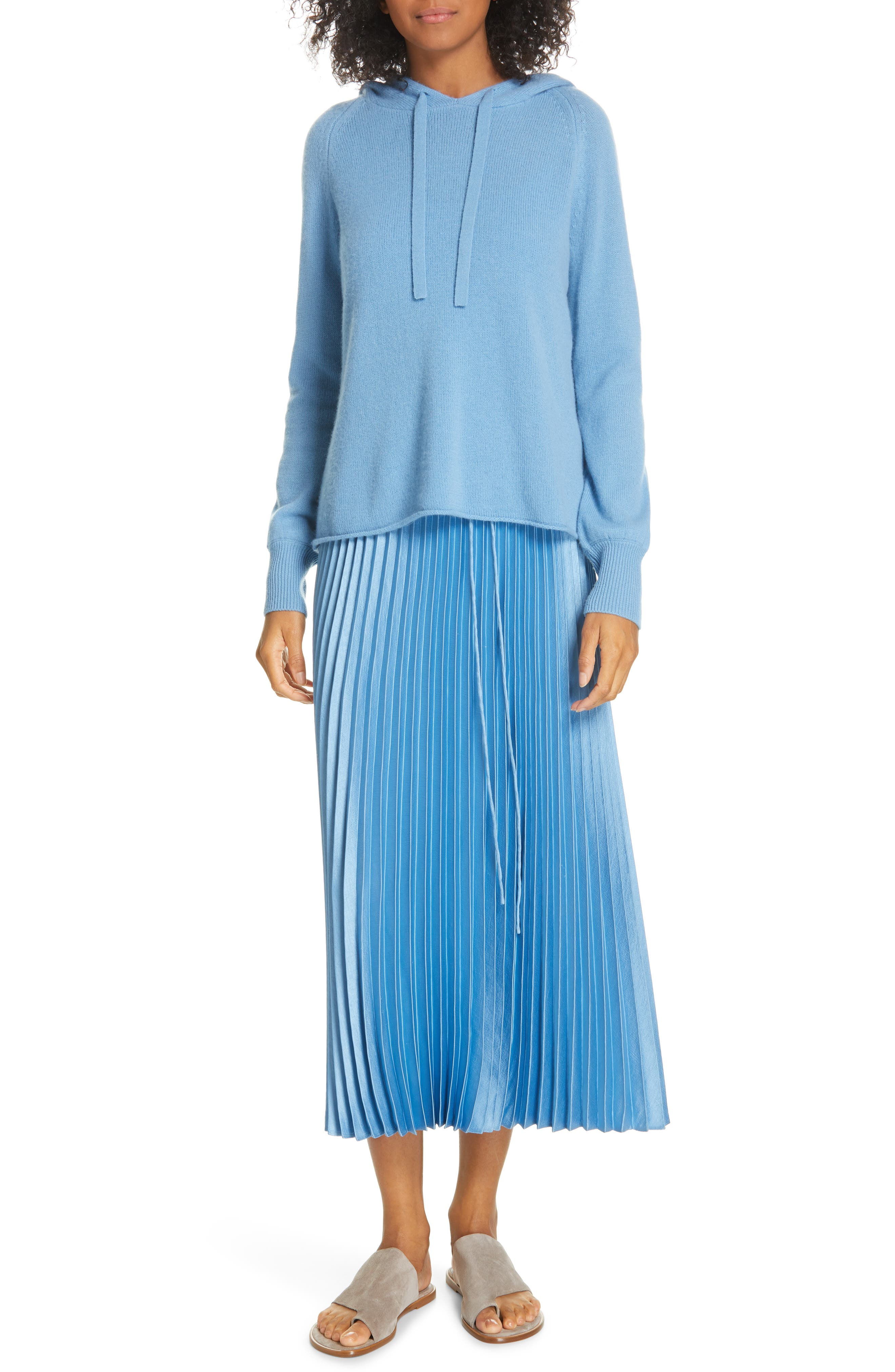 VINCE, Pleated Satin Slipdress, Alternate thumbnail 9, color, BLUE PUMICE