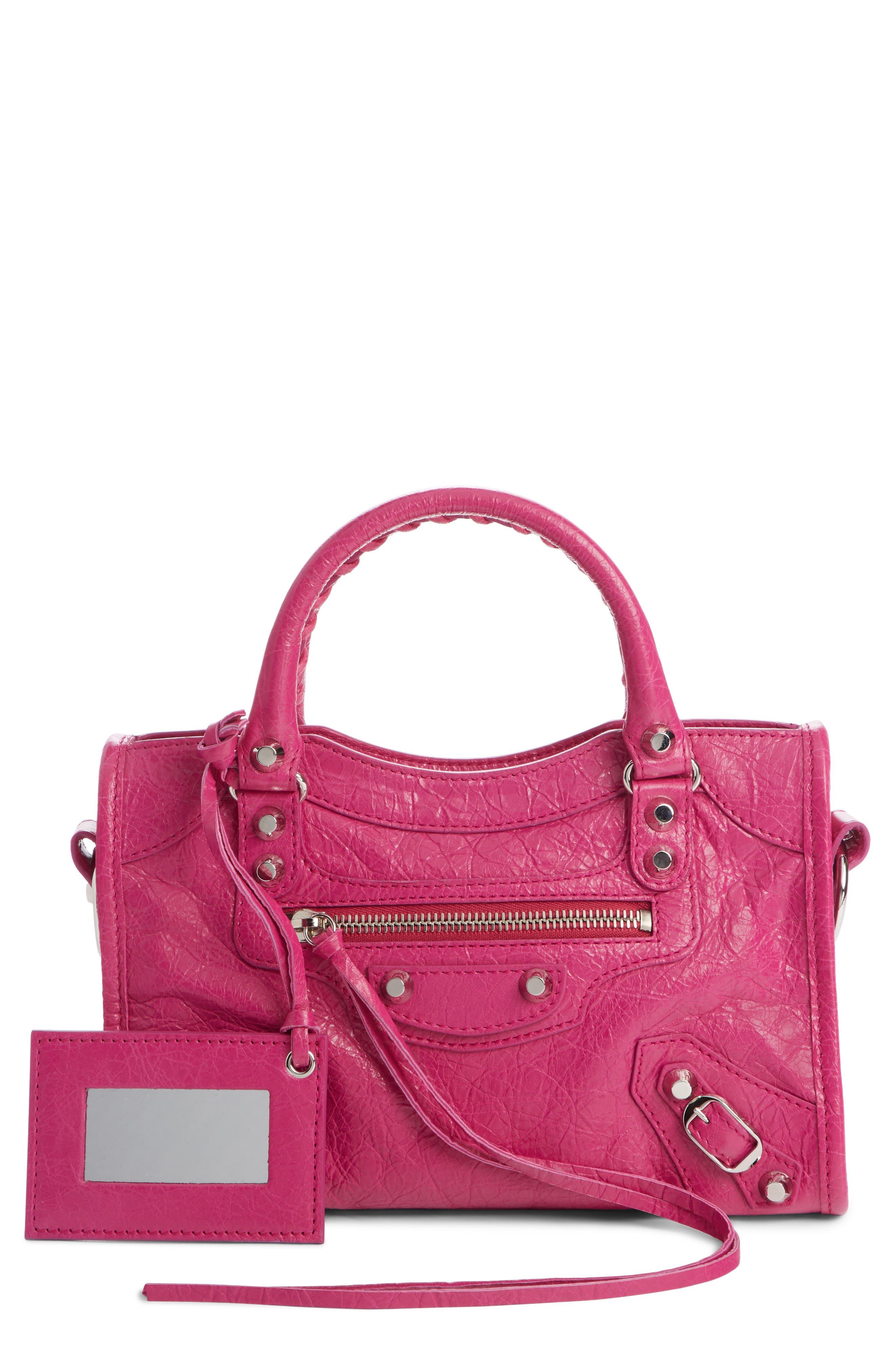 BALENCIAGA, Classic Mini City Leather Tote, Main thumbnail 1, color, ROSE MAGENTA