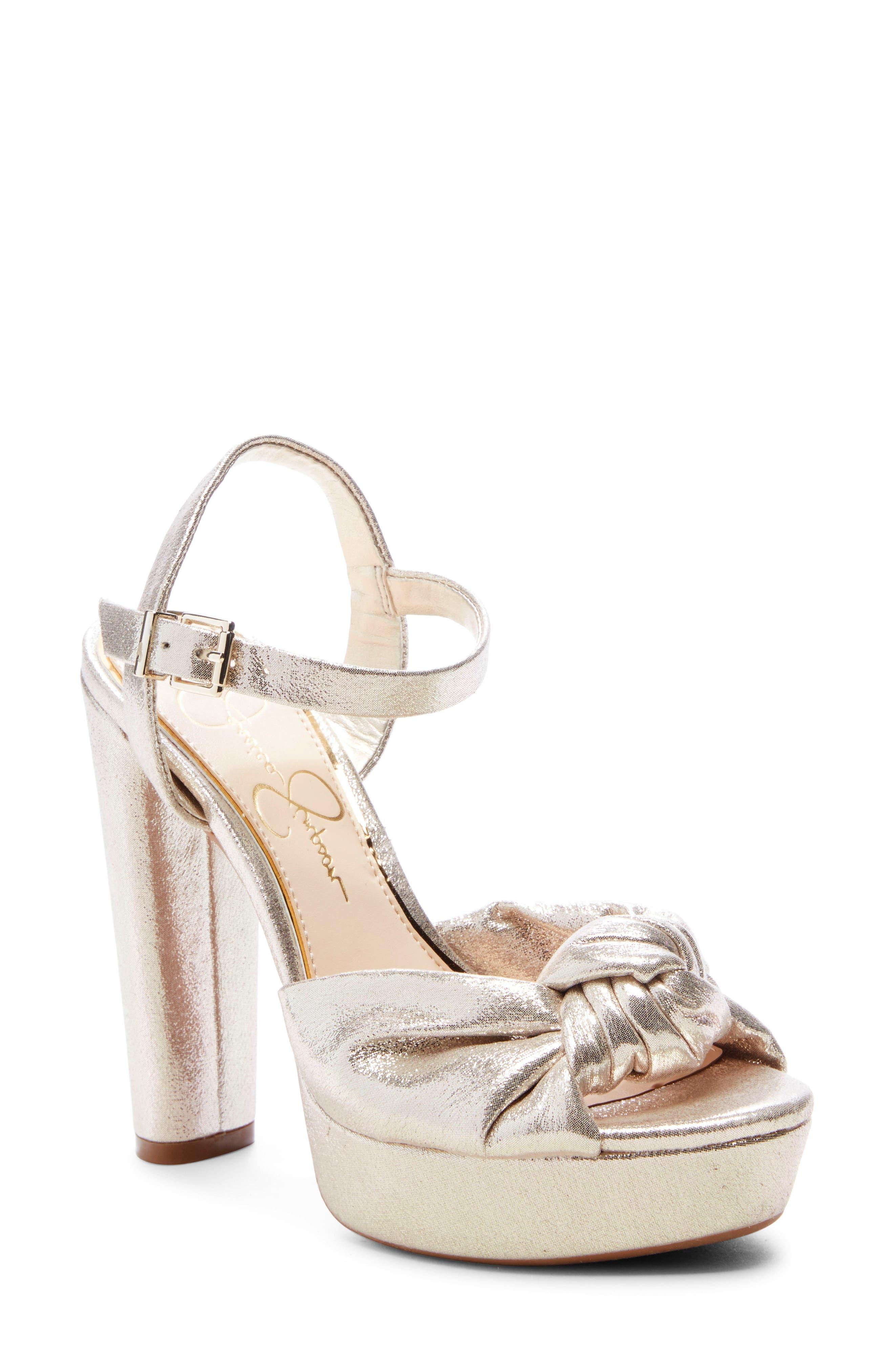 Jessica Simpson Ivrey Knot Platform Sandal- Metallic