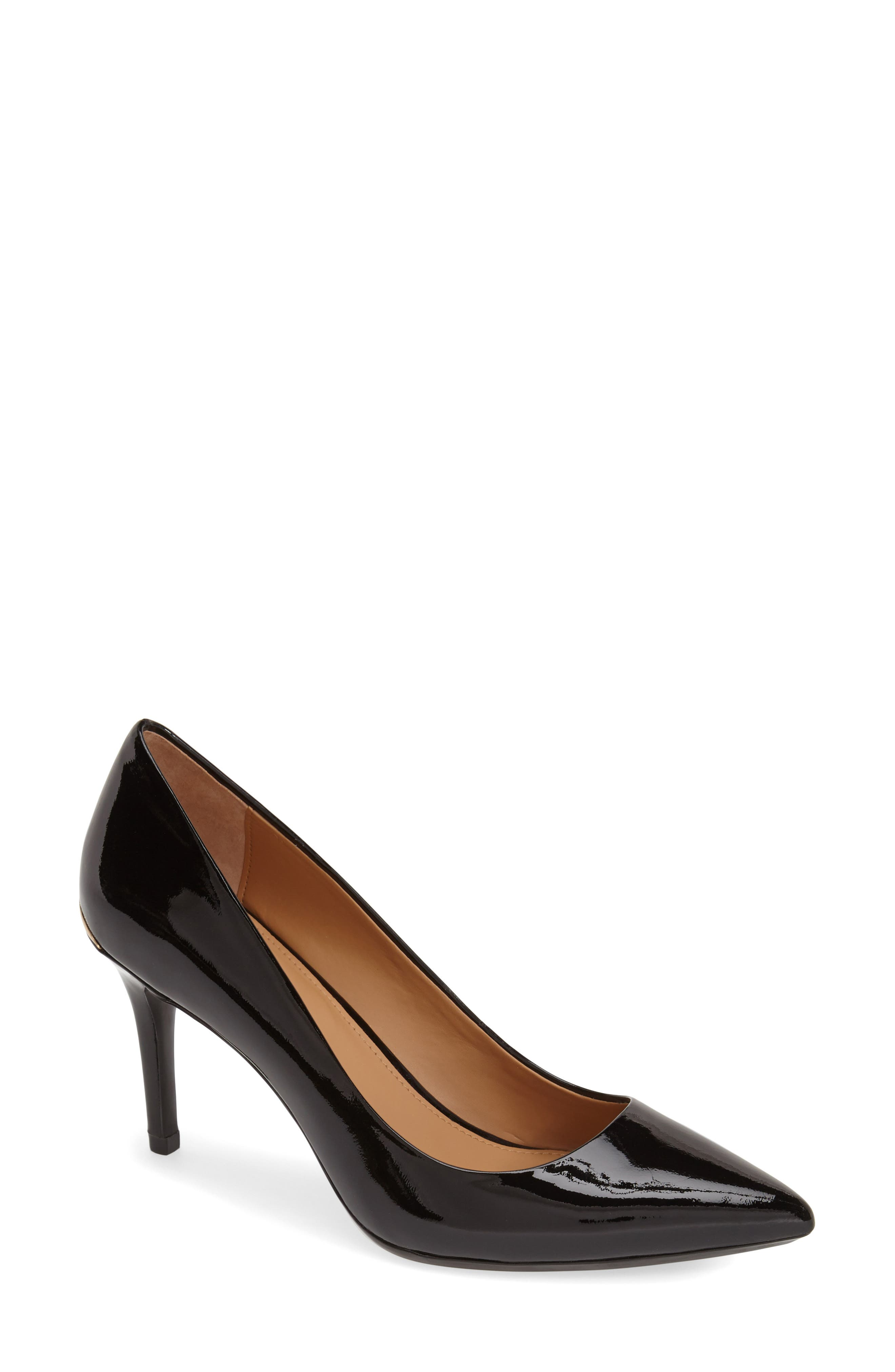 CALVIN KLEIN, 'Gayle' Pointy Toe Pump, Alternate thumbnail 5, color, BLACK PATENT