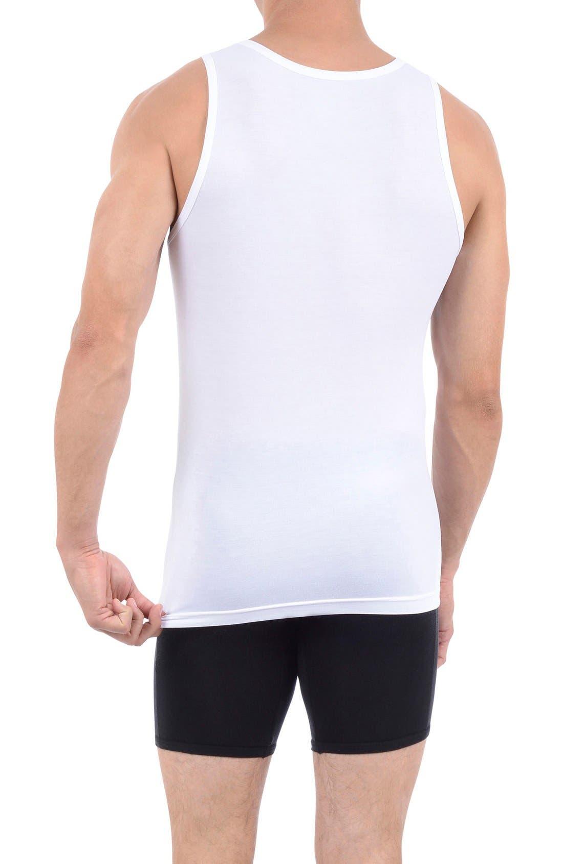 TOMMY JOHN, Second Skin Tank Undershirt, Alternate thumbnail 3, color, WHITE